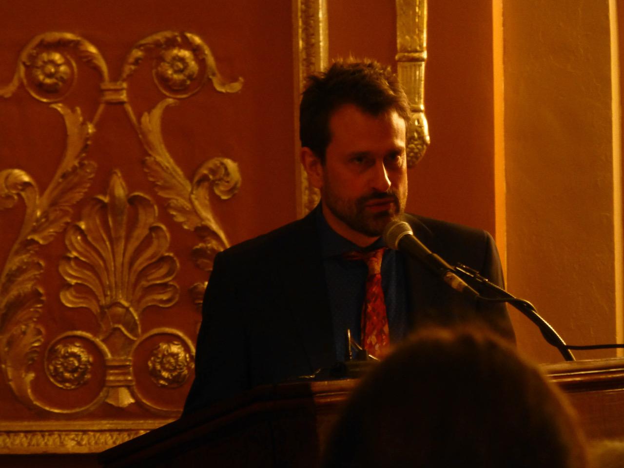 Composer Daniel Sonenberg at the pre-opera talk. Photo by Debra Rogers.