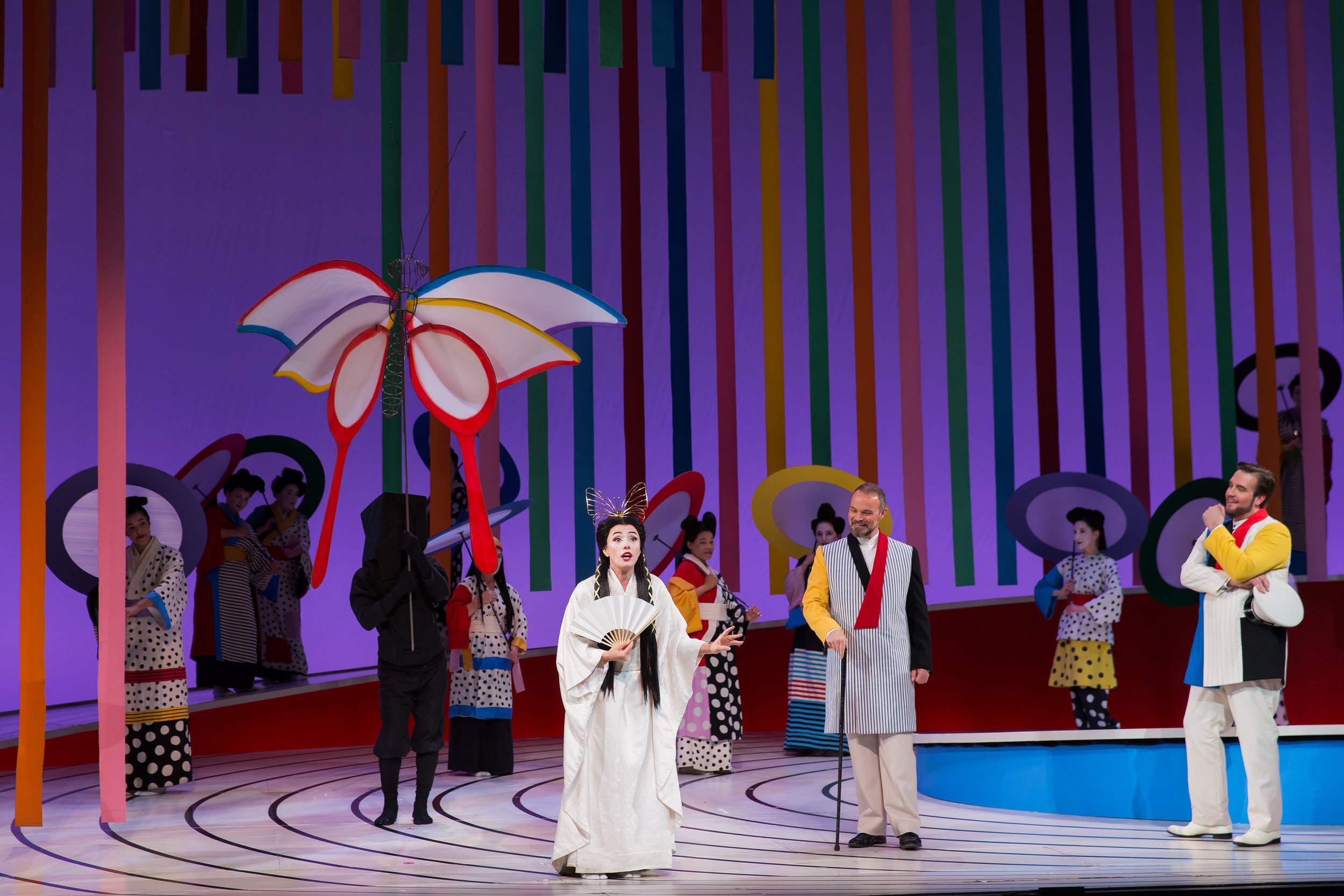 Ermonela Jaho as Cio-Cio San (Butterfly), Troy Cook as Sharpless (the American counsul), and Brian Jagde as B. F. Pinkerton. Photo by Scott Suchman; courtesy of Washington National Opera.