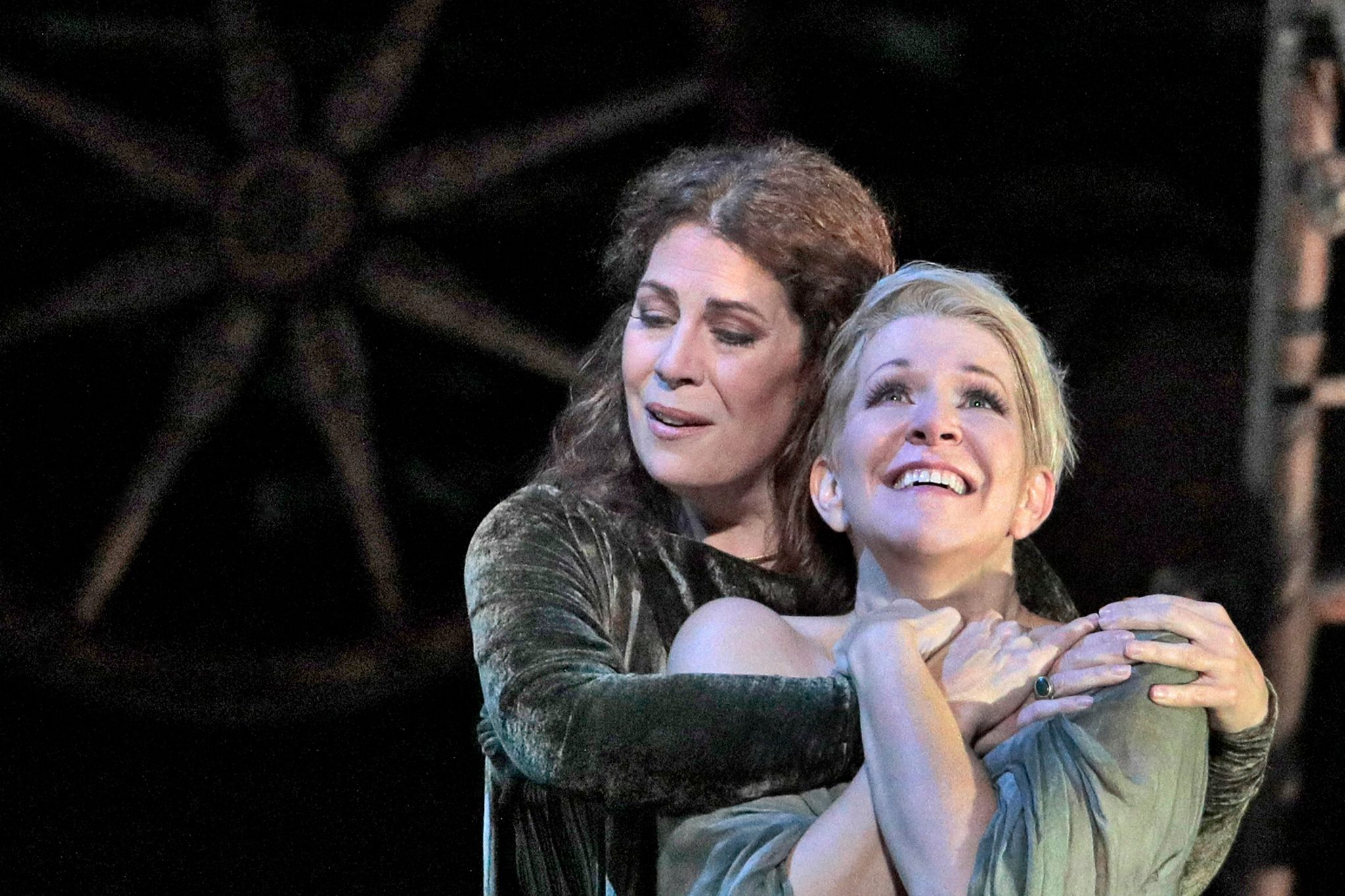 Sondra Radvanovsky as Norma and Joyce DiDonato as Adalgisa. Photo by Ken Howard and courtesy of the Metropolitan Opera.