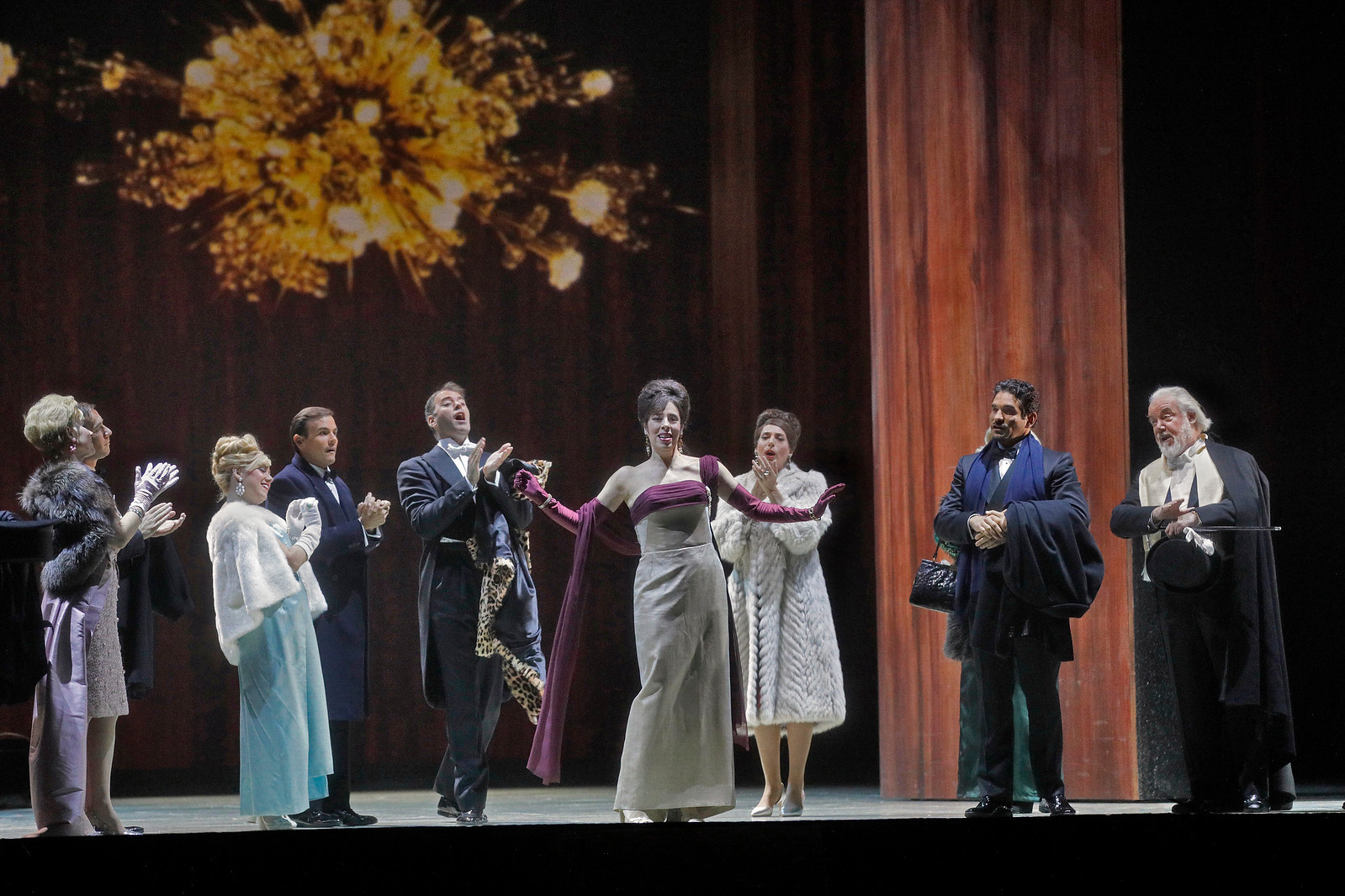 The dinner party begins in  The Exterminating Angel . Photo by Ken Howard; courtesy of the Metropolitan Opera.