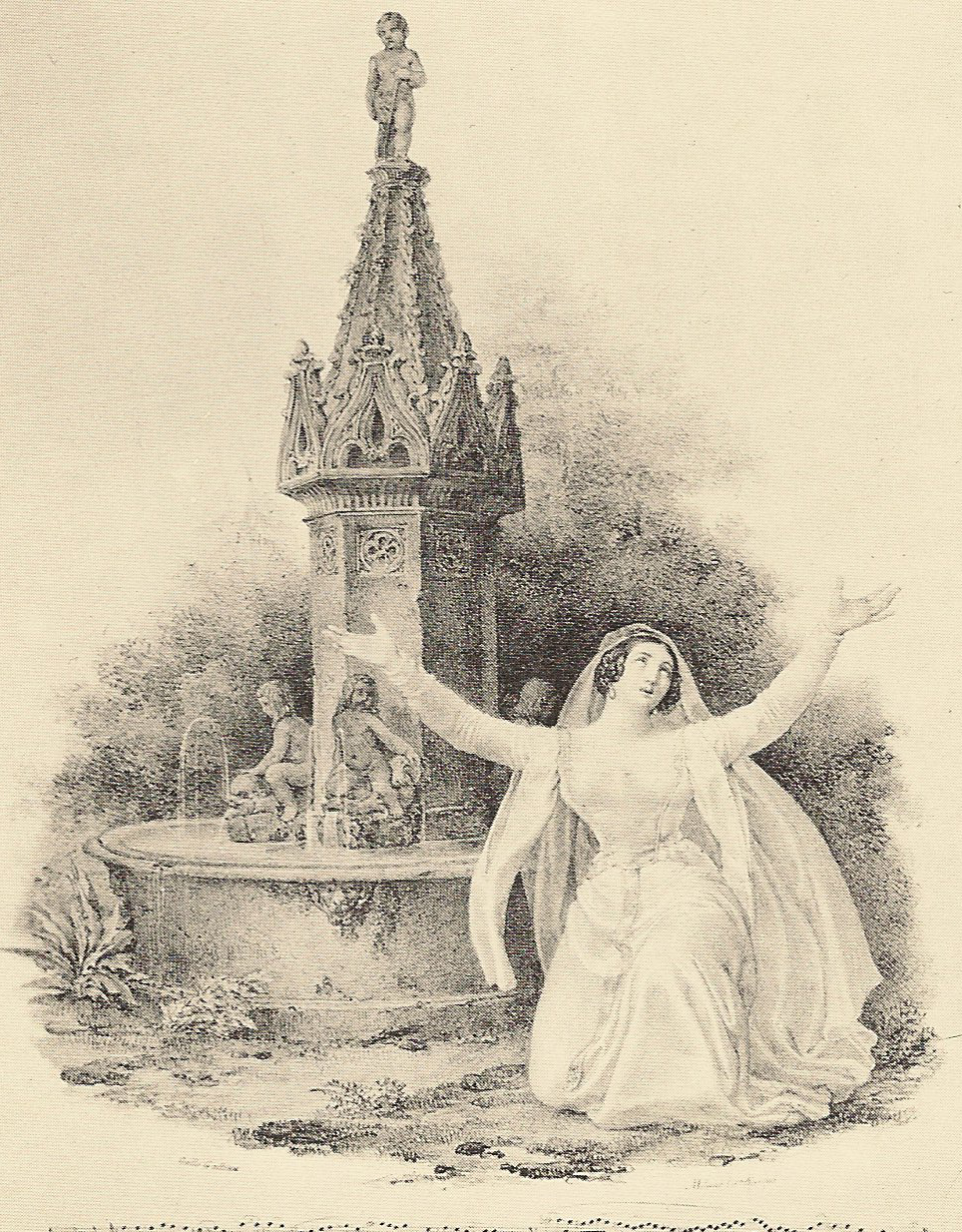 Henriette Meric-Lalande as Alaide in the original 1829 production of  La Straniera . Image from public domain via  Wikipedia .