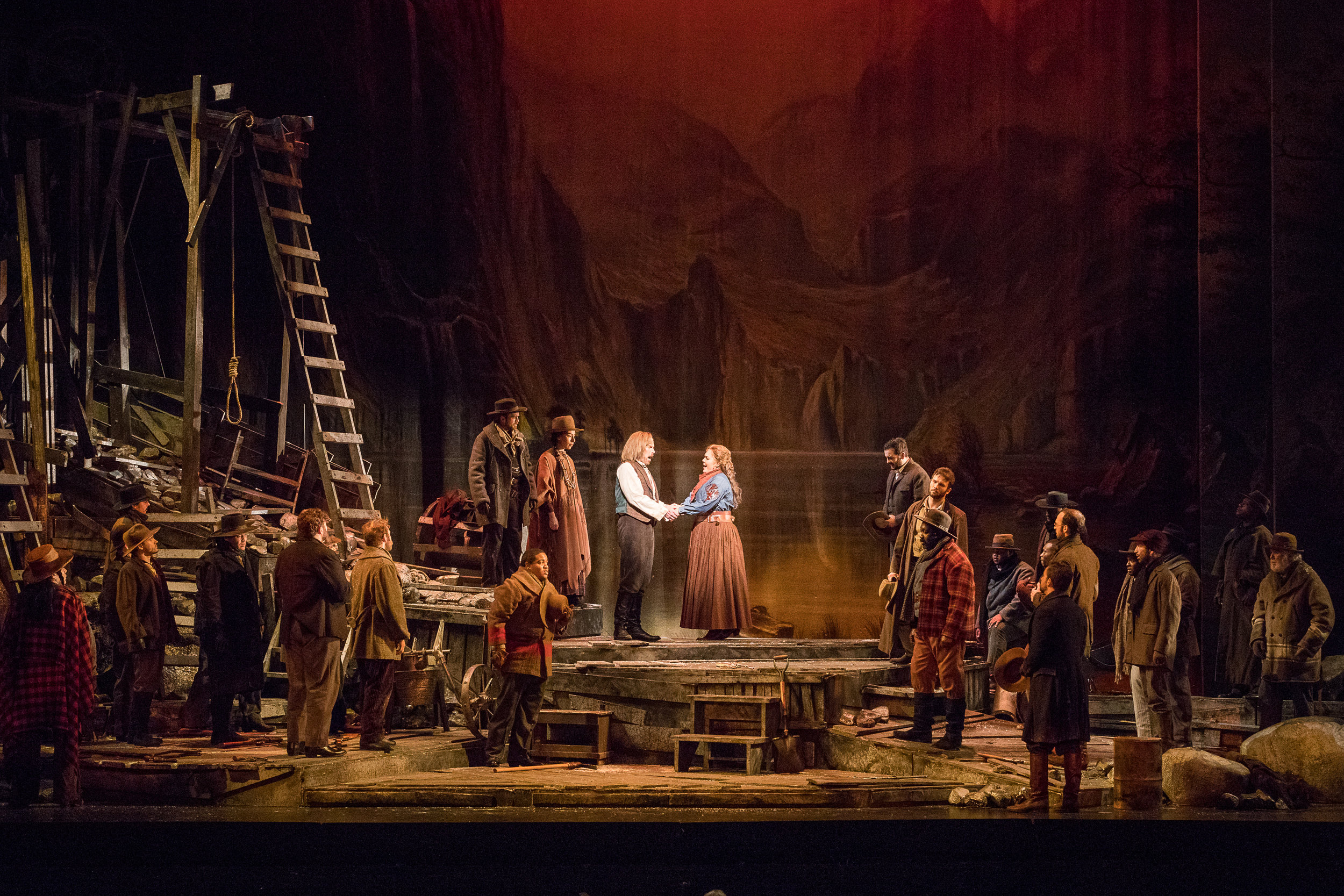 The miners have given their blessing to Minnie and Ramirez. Photo by Ben Schill Photography; courtesy of Virginia Opera.