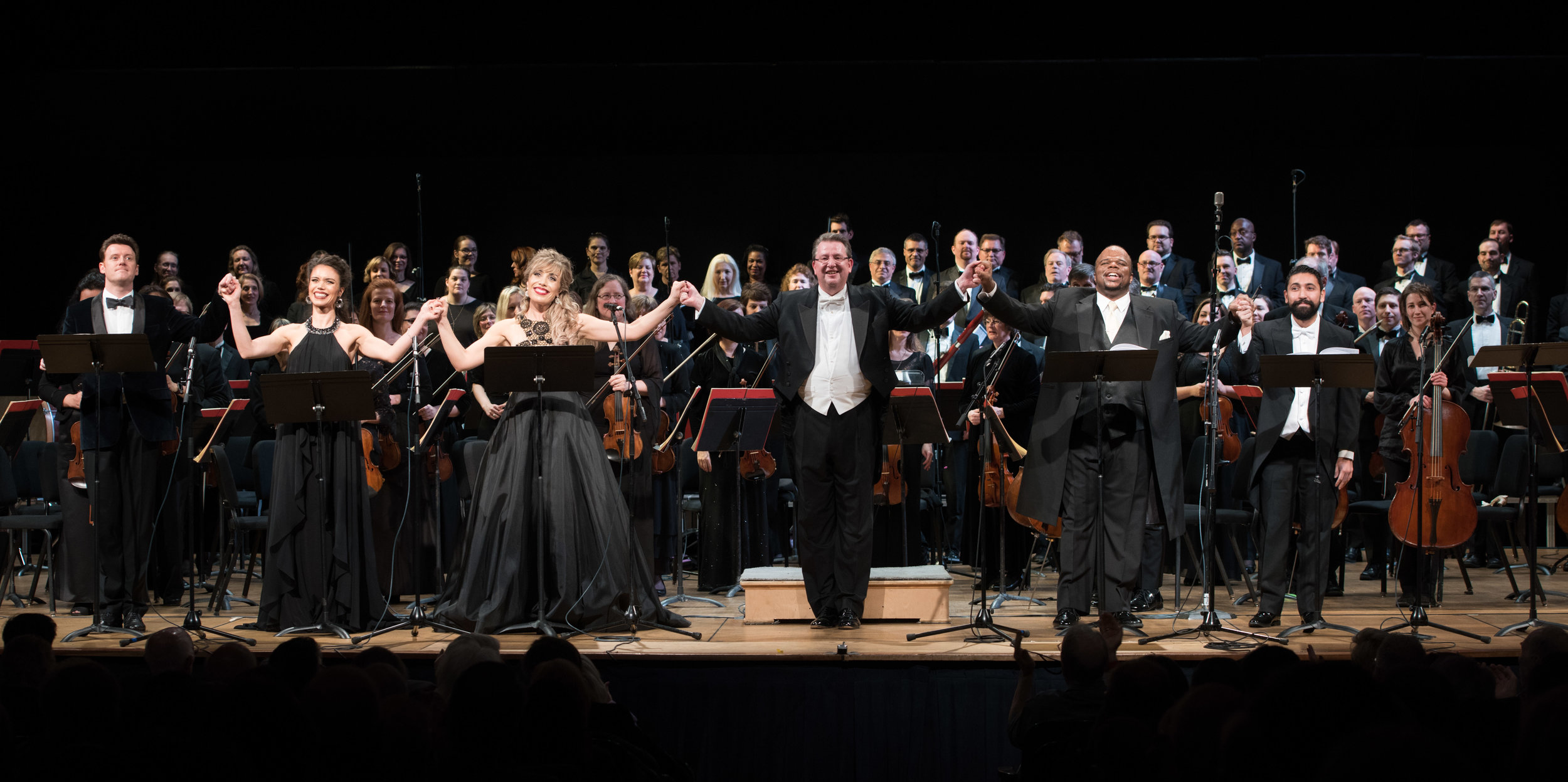 Norman Reinhardt, Ginger Costa-Jackson, Marina Costa-Jackson, Antony Walker, Lester Lynch, Efrain Solis, and the Washington Concert Orchestra. Photo by Don Lassell; courtesy of Washington Concert Opera.