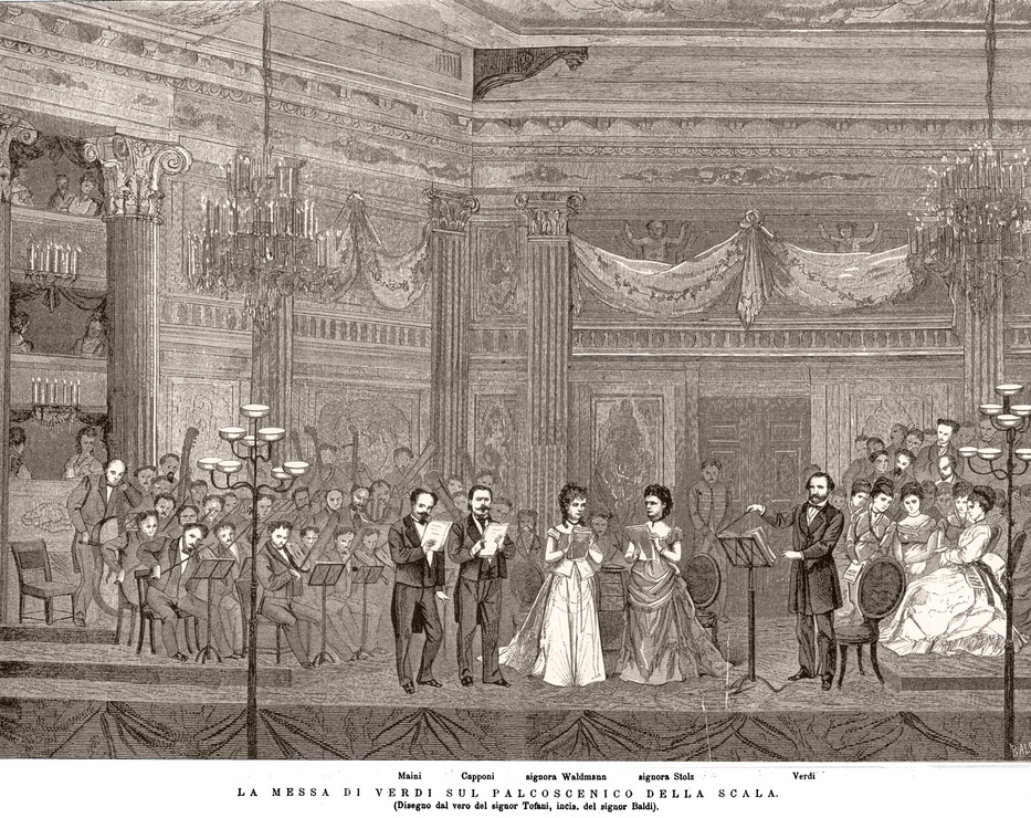 Drawing by artist Osvaldo Tofani of the second performance of Verdi's Requiem at La Scala in Milan in 1874. In the public domain, obtained from  Wikipedia .