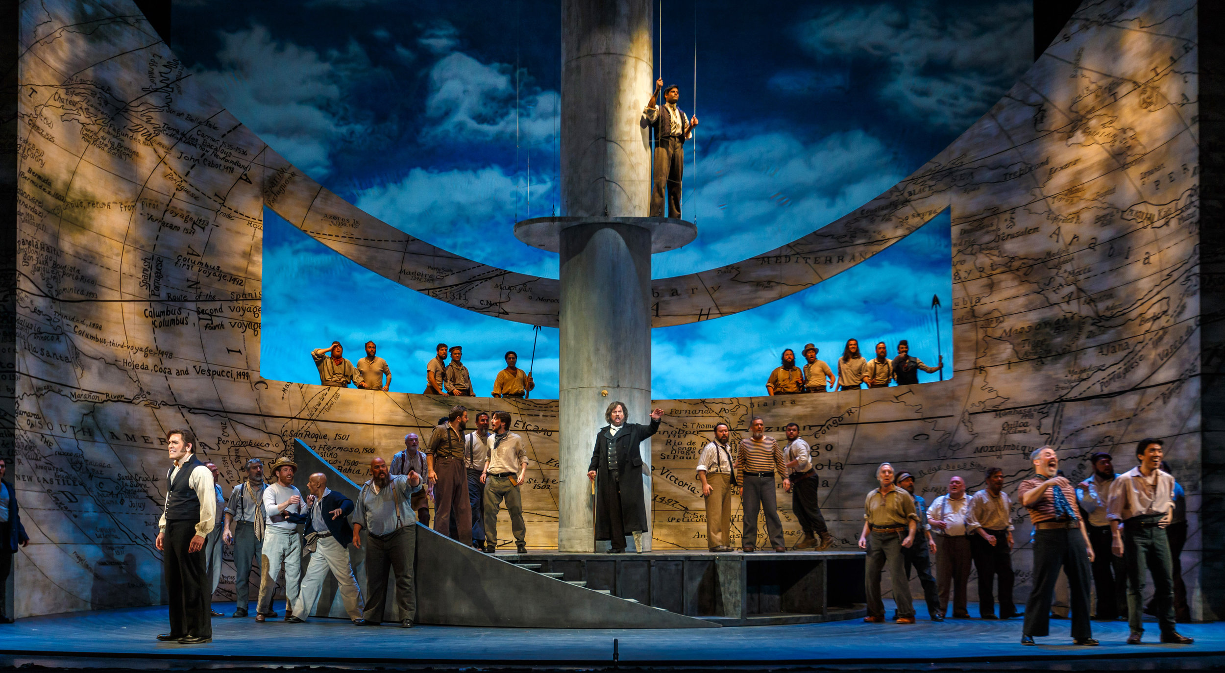 The crew of the Pequod prepares for the final chase. Photo by David Bachman Photography; courtesy of Pittsburgh Opera.
