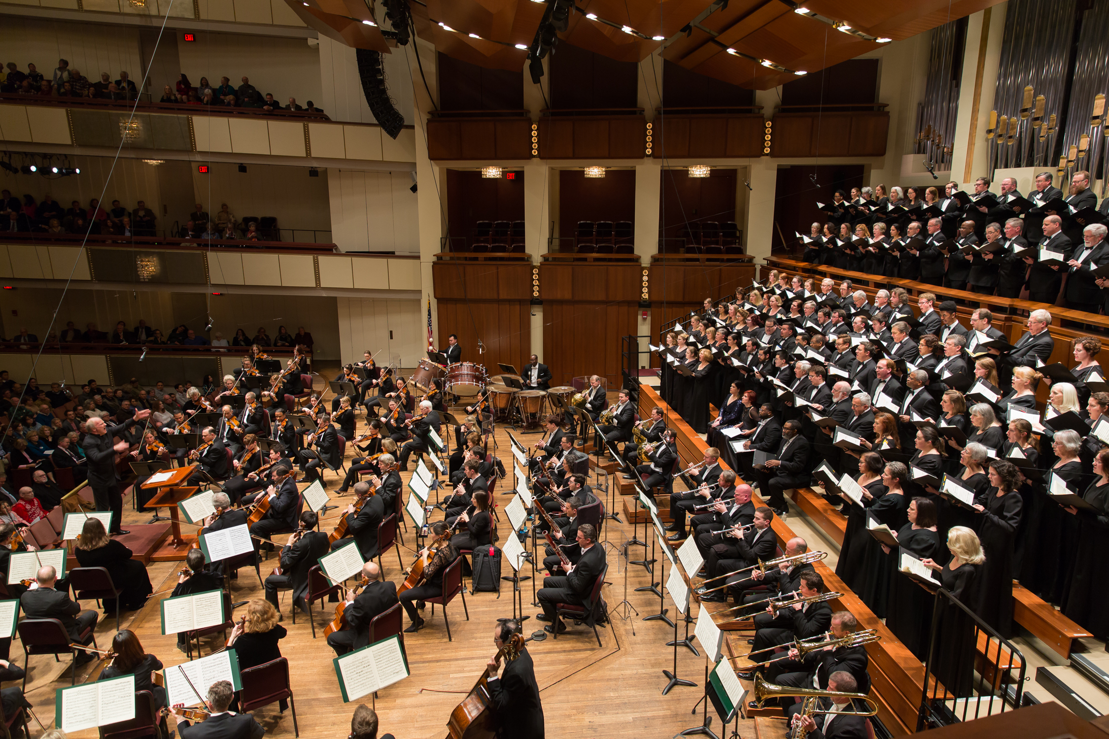 Side view of conductor, orchestra, soloists, and chorus. Photo by Scott Suchman and courtesy of the National Symphony Orchestra.
