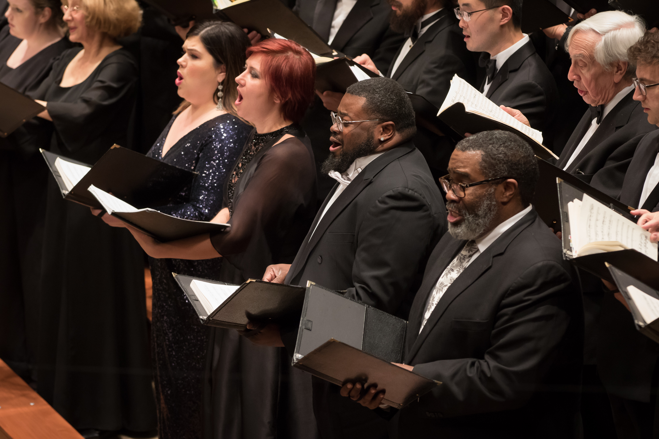 Soloists in front row, right to left, Eric Owens, Russell Thomas, Veronica Simeoni, and Leah Crocetto. Photo by Scott Suchman and courtesy of the National Symphony Orchestra.