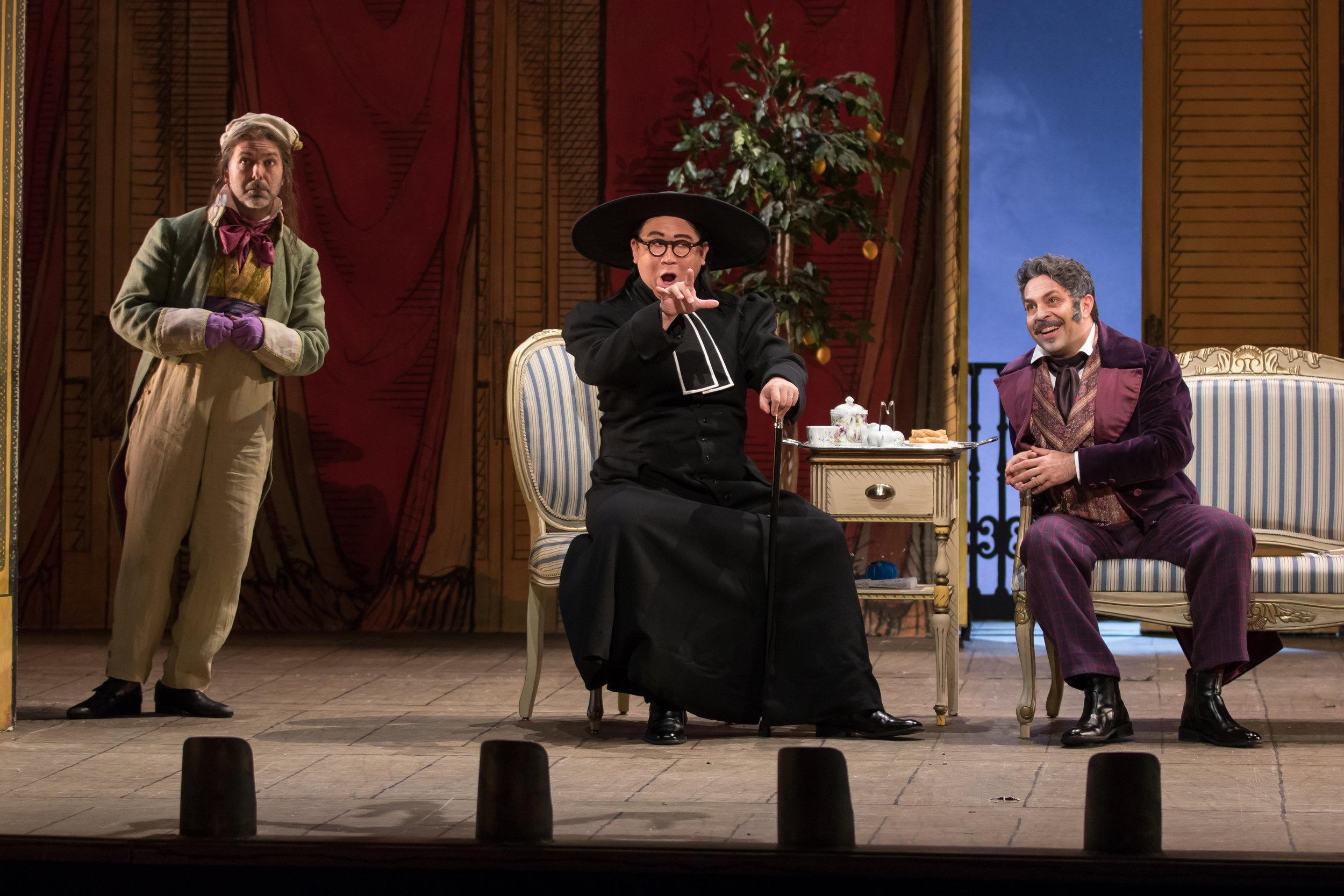 Ambrogio (Matthew Pauli), Don Basilio (Wei Wu), and Paolo Bordogna (Dr. Bartolo). Photo by Scott Suchman; courtesy of Washington National Opera.