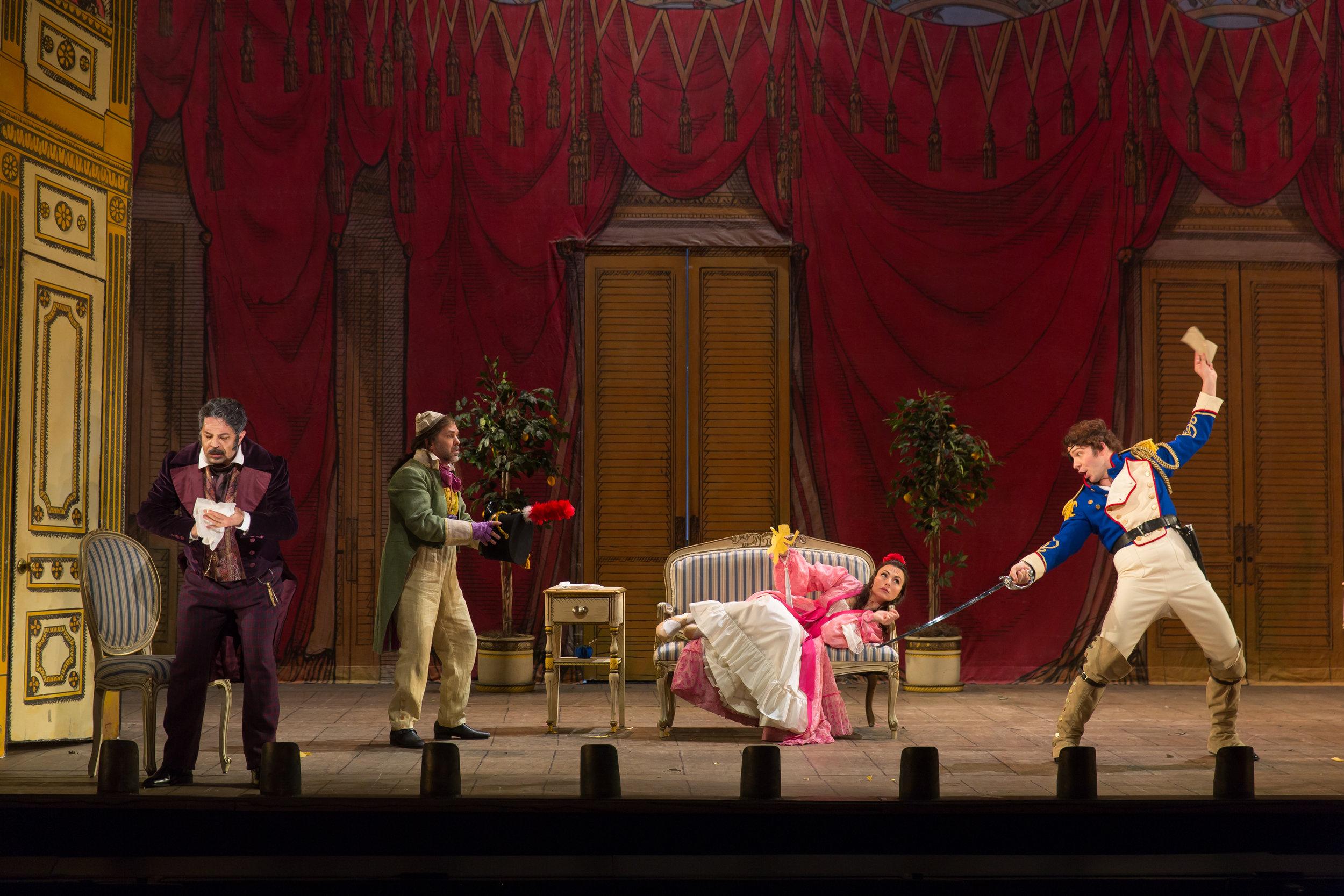 Dr. Bartolo (Paolo Bordogna), Ambrogio (Matthew Pauli), Rosina (Isabel Leonard), and Almavira (Taylor Stayton). Photo by Scott Suchman; courtesy of Washington National Opera.