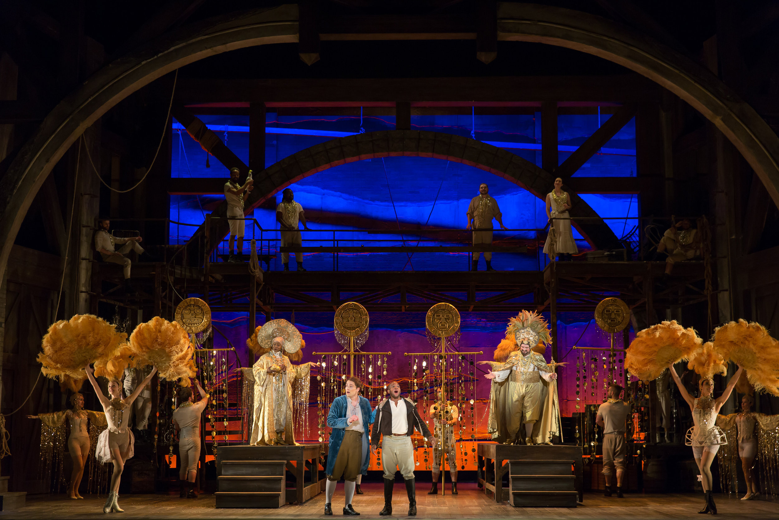 Tenors Alek Shrader (Candide) and Frederick Ballentine (Cacambo) visit Eldorado in WNO's production of Candide_credit Scott Suchman.JPG