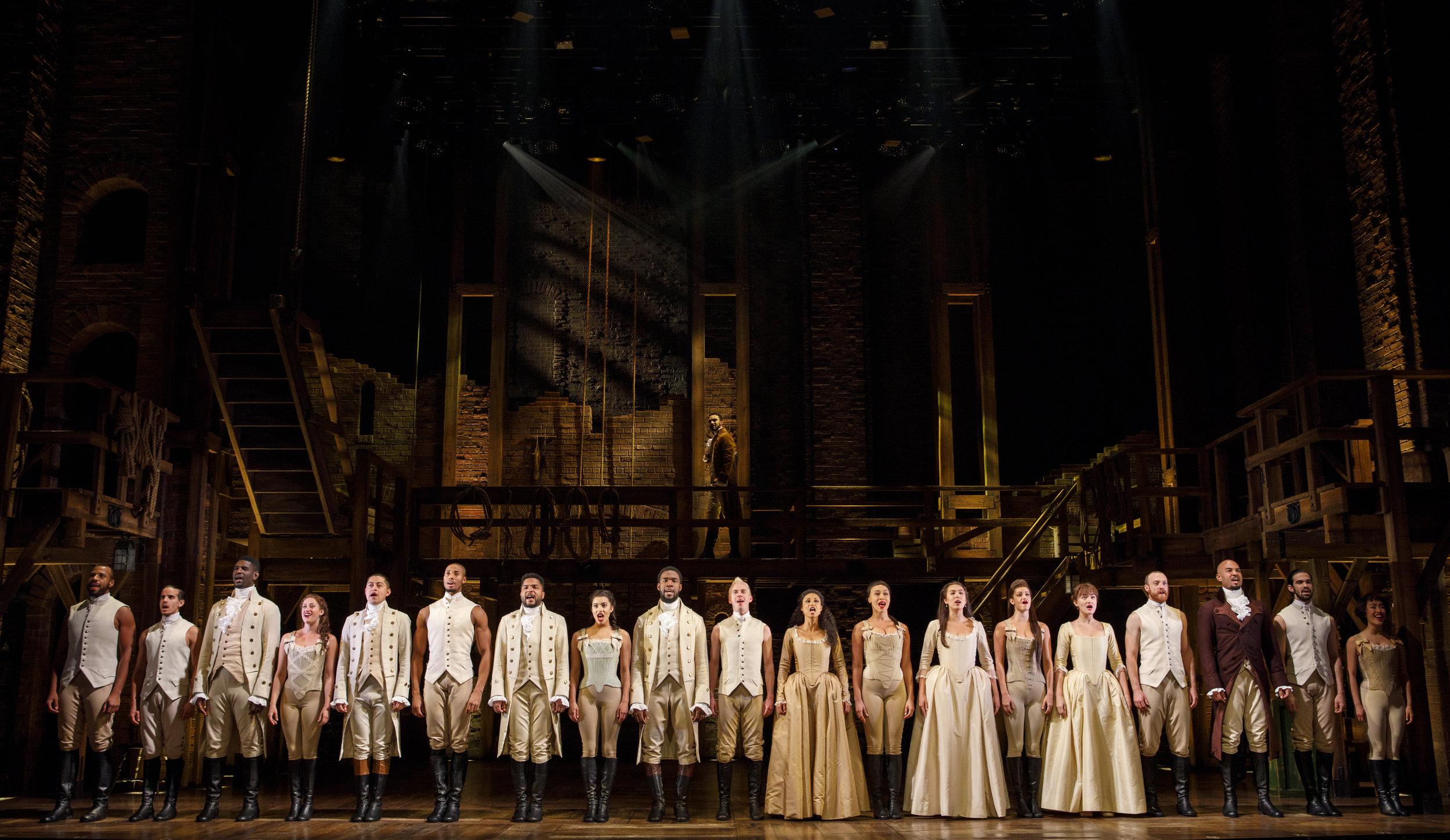 Company - HAMILTON National Tour. Photo by Joan Marcus; courtesy of the Kennedy Center.
