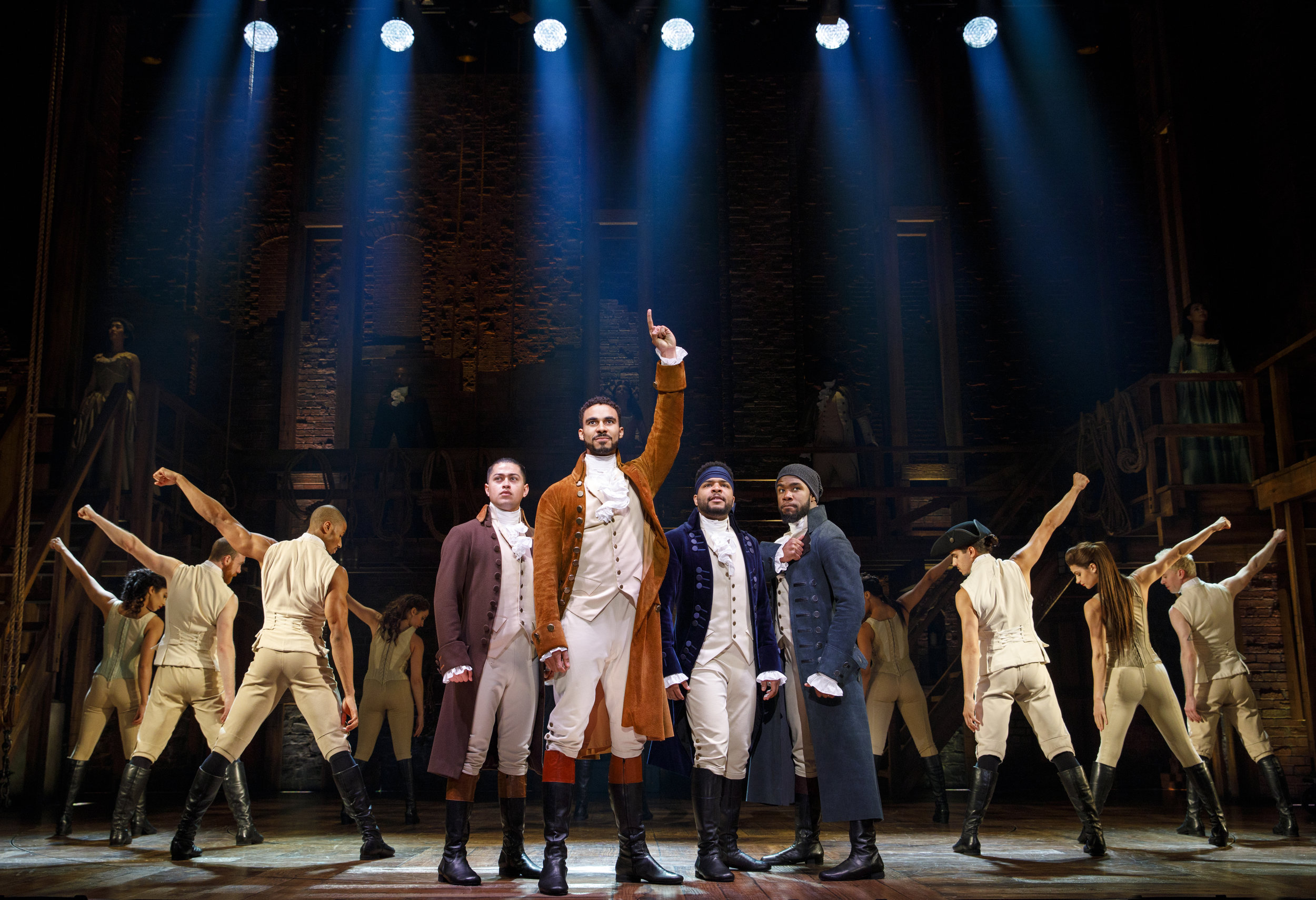Laurens (Reuben J. Carbajal), Hamilton (Austin Scott), Lafayette (Bryson Bruce), Mulligan (Chaundre Hall-Bromfield) and Company - HAMILTON National Tour. Photo by Joan Marcus; courtesy of the Kennedy Center.