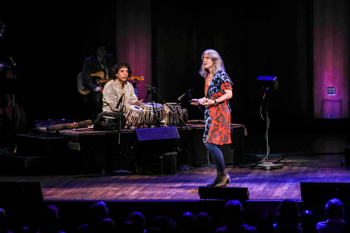Virtuoso tabla player Zakir Hussein and Dr. Nina Kraus. Photo by Jali Lindsay; courtesy of the Kennedy Center.