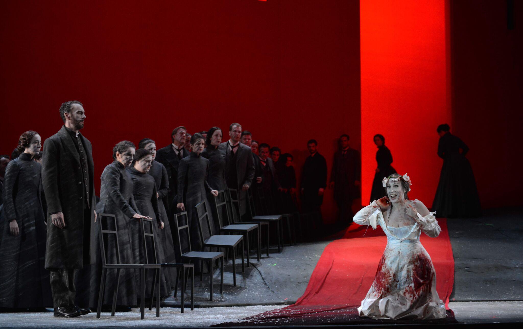 Lucia (Brenda Rae) has gone completely mad. Photo by Kelly & Massa; courtesy of Opera Philadelphia.