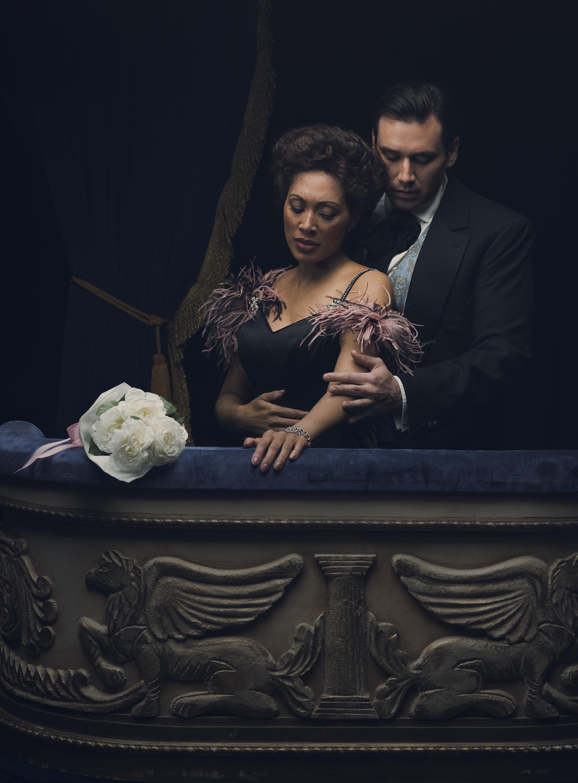 Jacqueline Echols as Violetta and Joshua Guerrero as Alfredo. Photo by Cade Martin; courtesy of Washington National Opera.