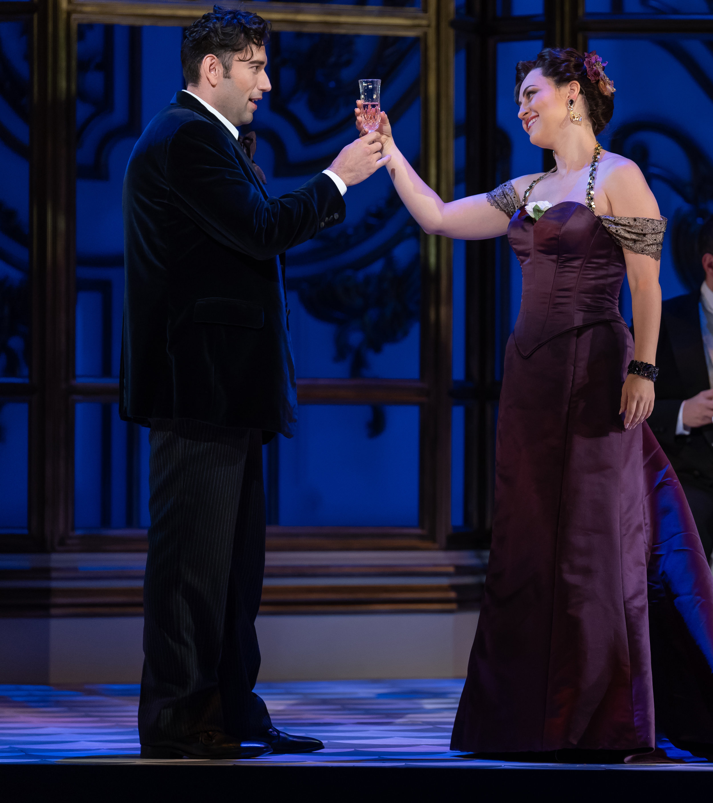 Alfredo (tenor Joshua Guerrero) toasts Violetta (soprano Venera Gimadieva) in WNO's La Traviata 2018 production_credit Scott Suchman.jpg