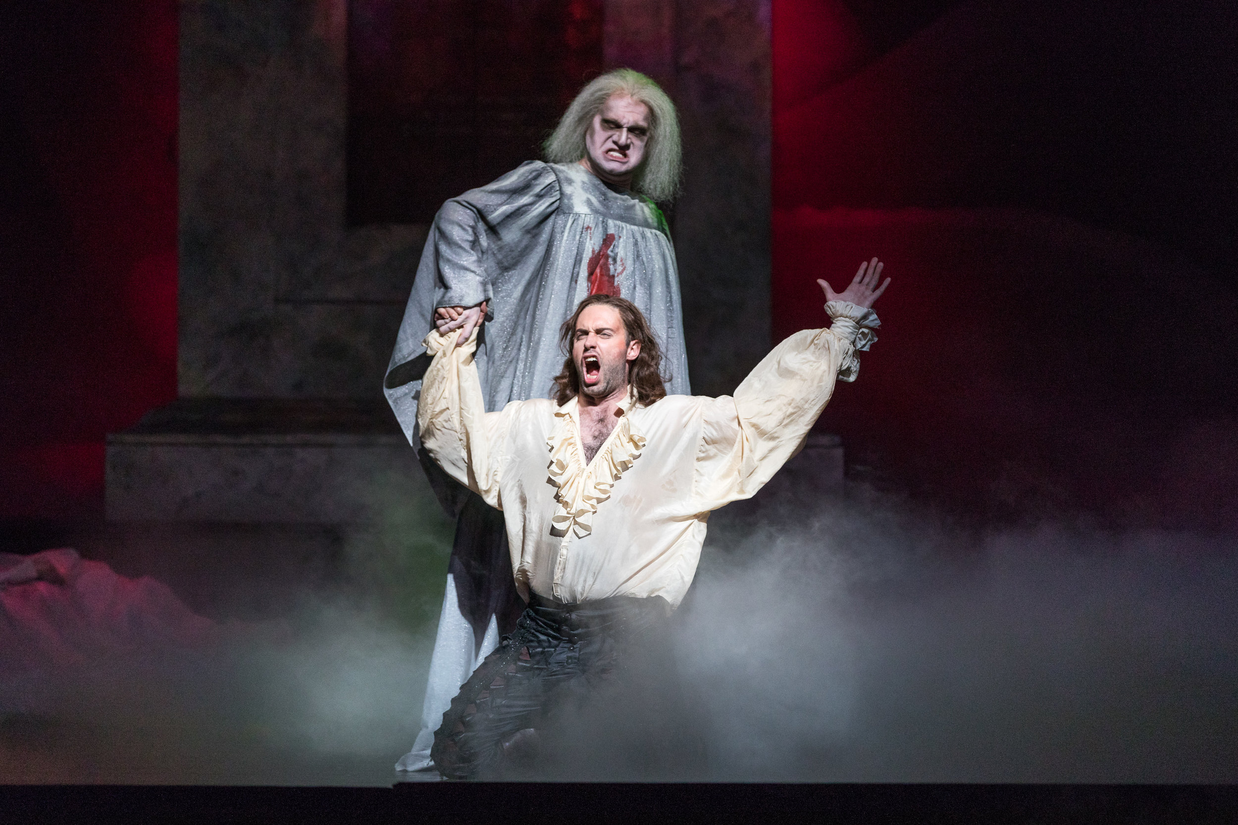 The ghost of the Commendatore (Nathan Stark) offers Don Giovanni (Tobias Greenhalgh) one last chance to repent. Photo by Ben Schill Photography; courtesy of the Virginia Opera