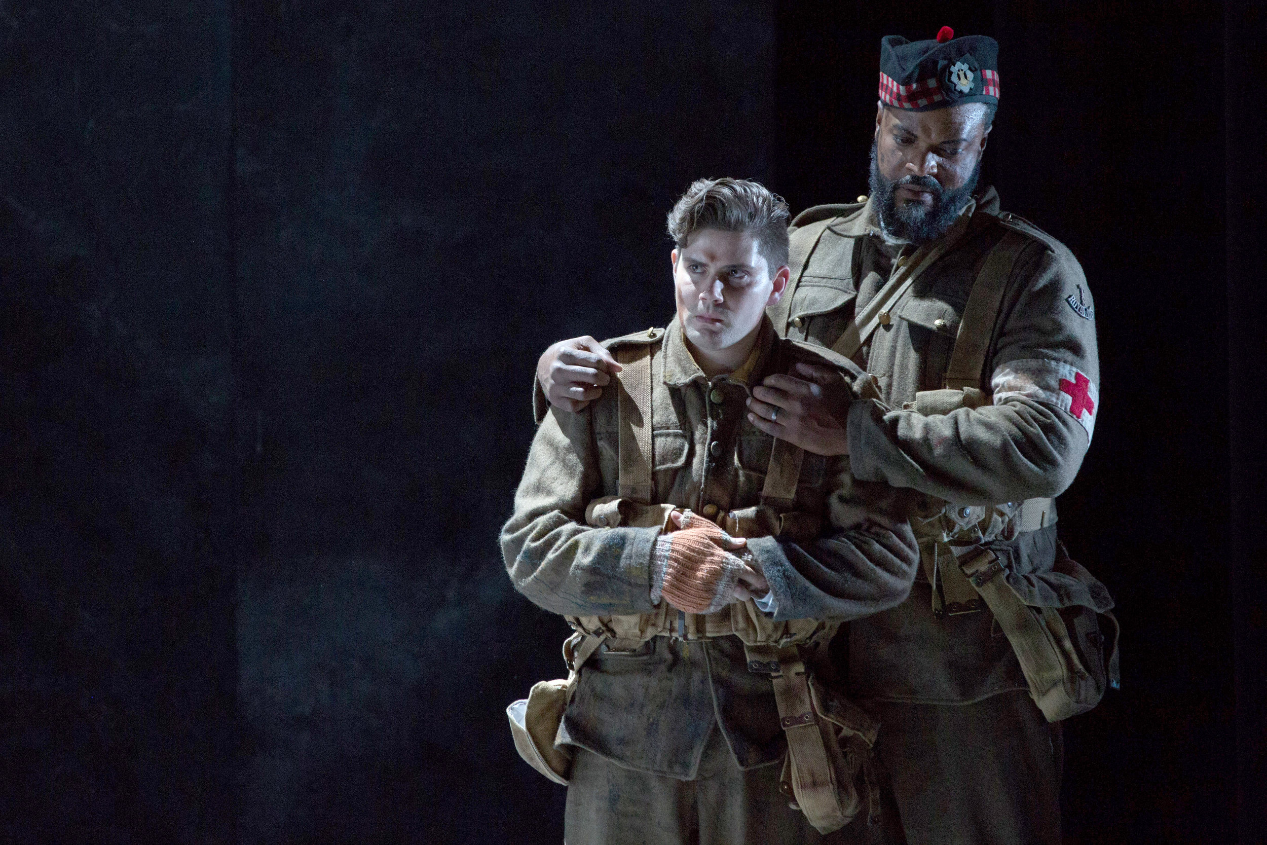Father Palmer (Kenneth Kellogg, right) consoles Jonathan Dale (Arnold Livingston Geis) during WNO's Silent Night production_credit Teresa Wood.jpg