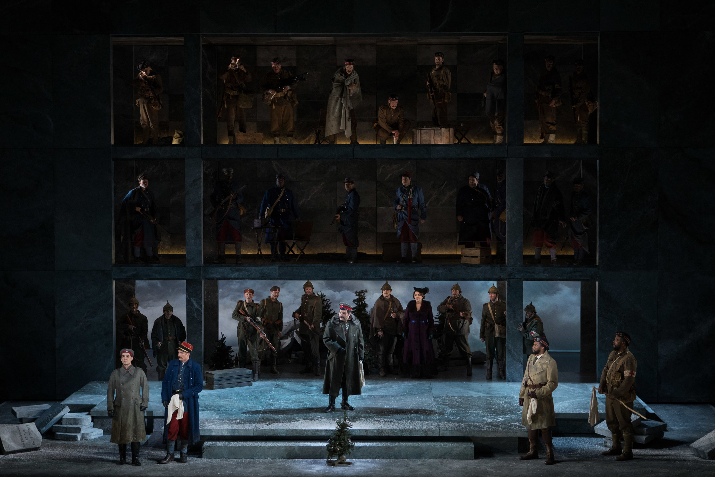 The truce begins for the men in three trenches. Photo by Teresa Wood; courtesy of Washington National Opera.
