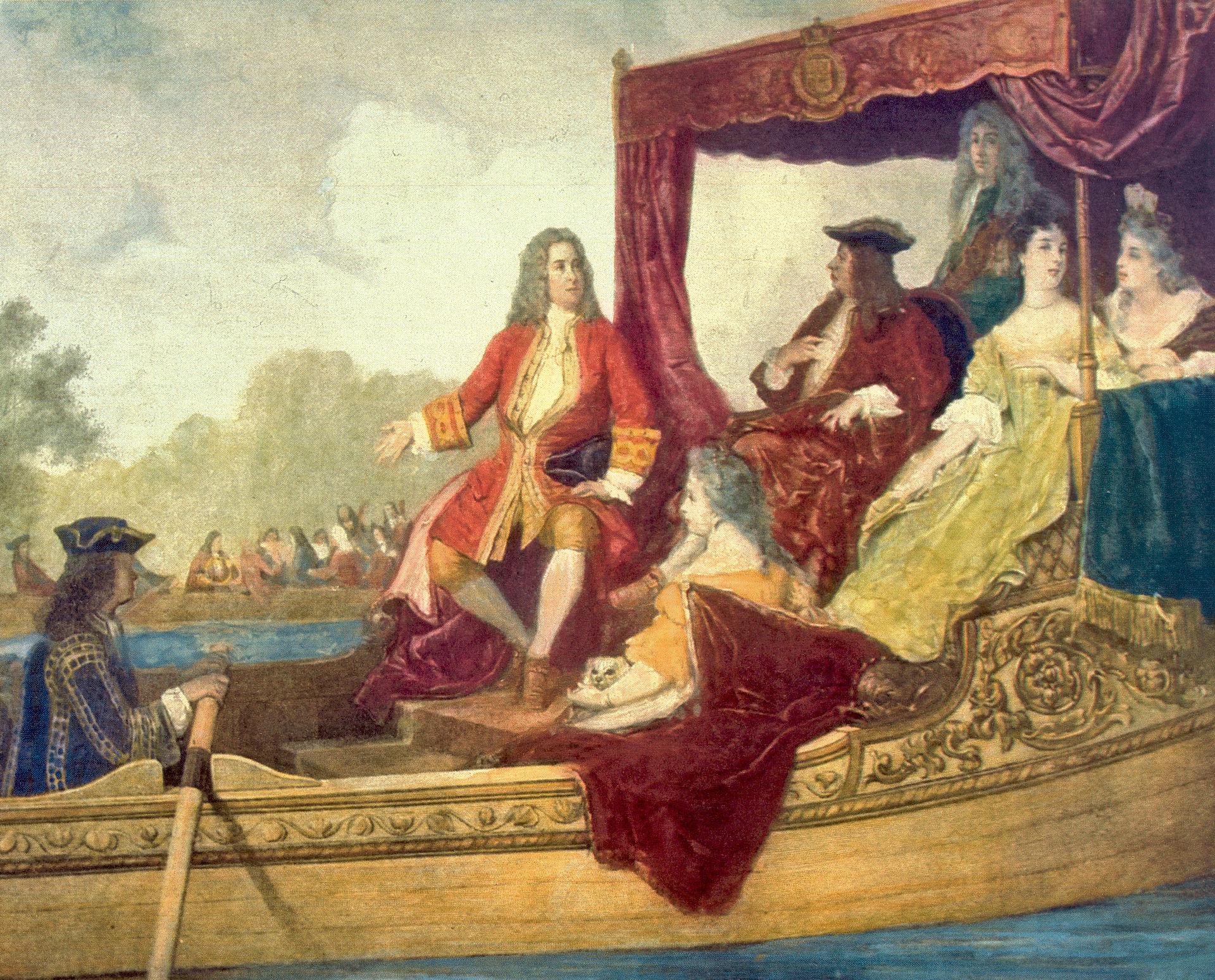 Handel  (centre)  and King George I on the River Thames, 17 July 1717, by Edouard Hamman (1819–88); image in public domain, copied from  Wikipedia .