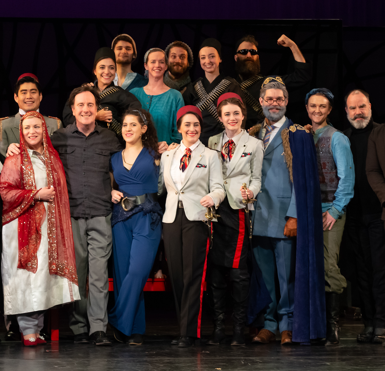 Photo of cast and dancers with Conductor Ryan Brown (front row, second from left), who is also Opera Lfayette's Founder and Artistic Director, and Director and Choreographer Seán Curran (end of front row on right).