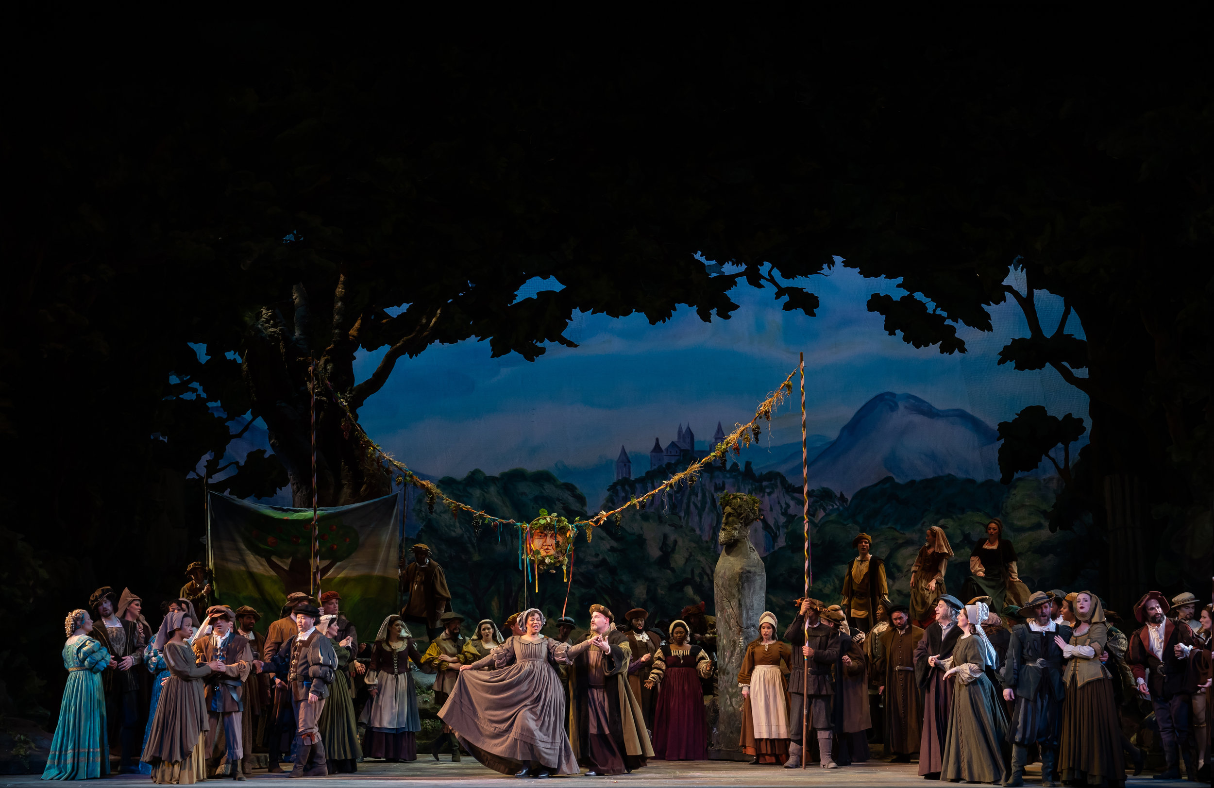 The townspeople celebration scene; another of the charming sets. Photo by Scott Suchman; courtesy of Washington National Opera.