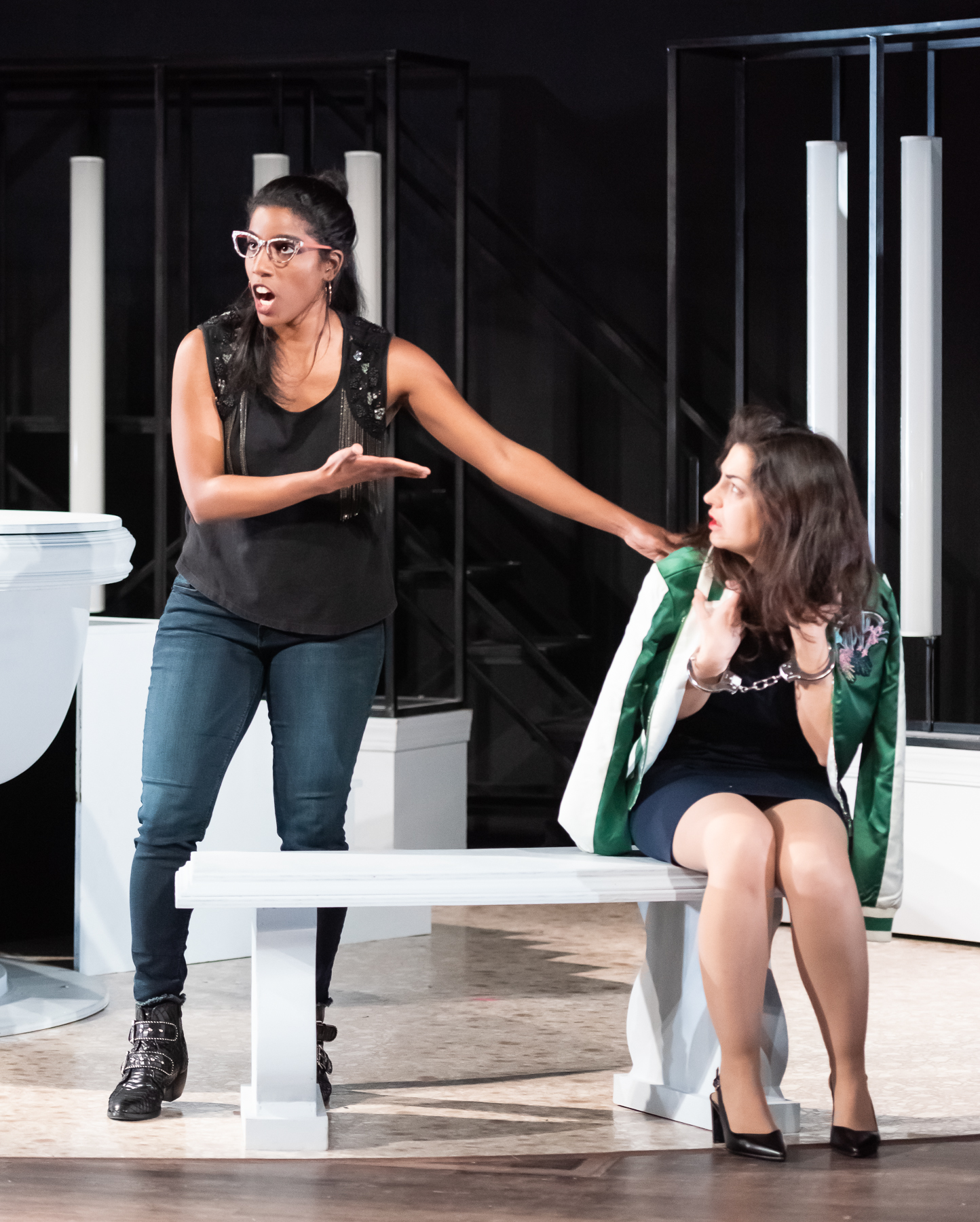 Daniel (Ariana Douglas) comes to Susanna's (Lucia Martín Cardón) defense. Photo by Louis Forget; courtesy of Opera Lafayette.