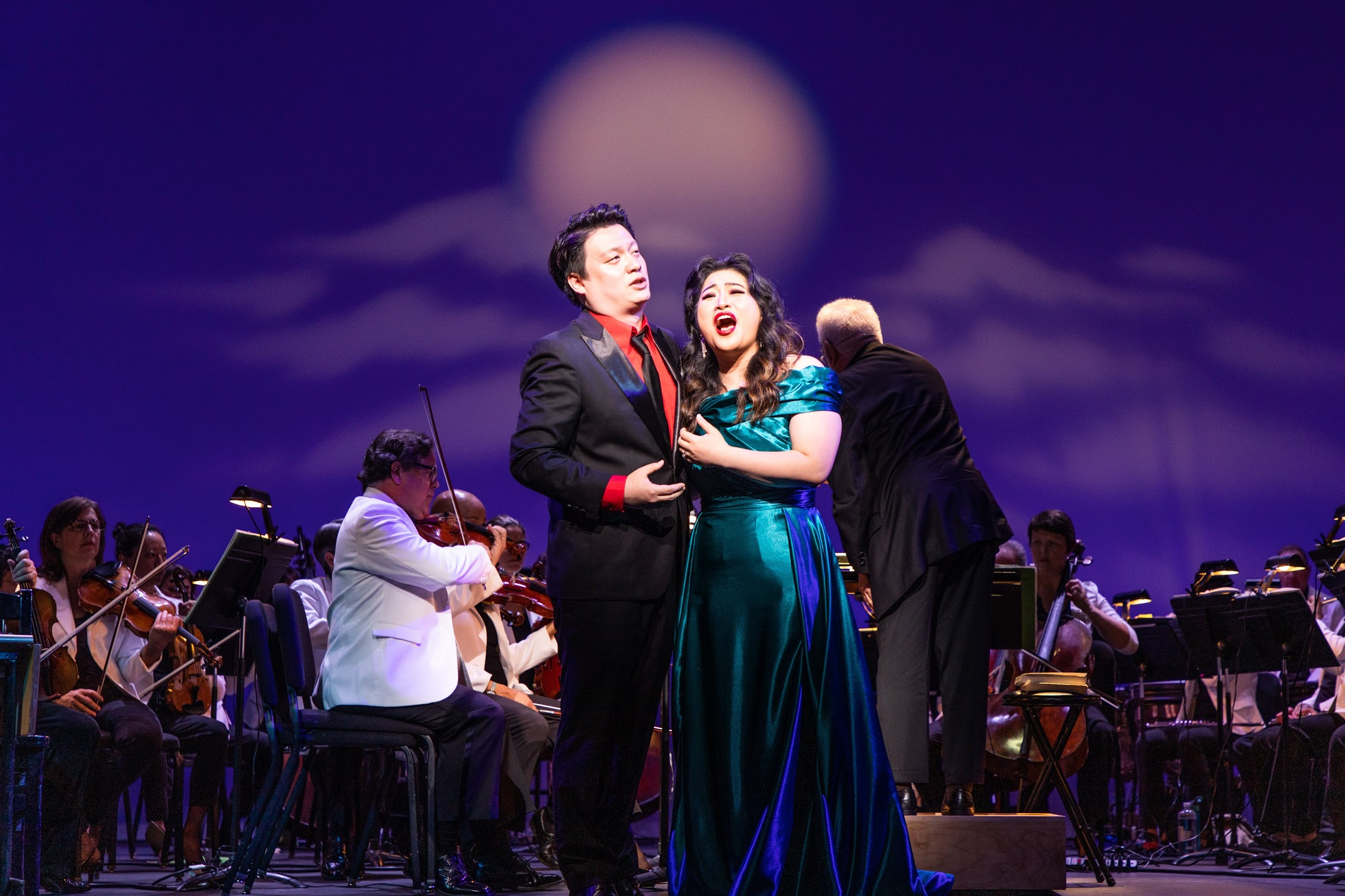 Yongxi Chen as Rodolfo and Youna Hartgraves as Mimi. Photo by Sam Trotman, Jr.; courtesy of Maryland Lyric Opera..