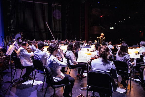 Conductor Louis Salemno leading the MDLO Orchestra. Photo by Sam Trotman, Jr.; courtesy of Maryland Lyric Opera..