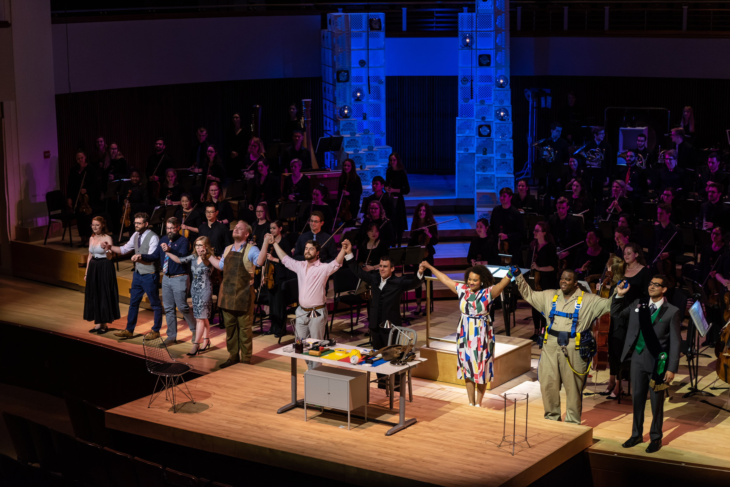 The  L'heure espagnole  creative team, conductor, cast, and orchestra taking bows. Photo by Rob Wallace/MIndful Photo; courtesy of Wolf Trap Opera.