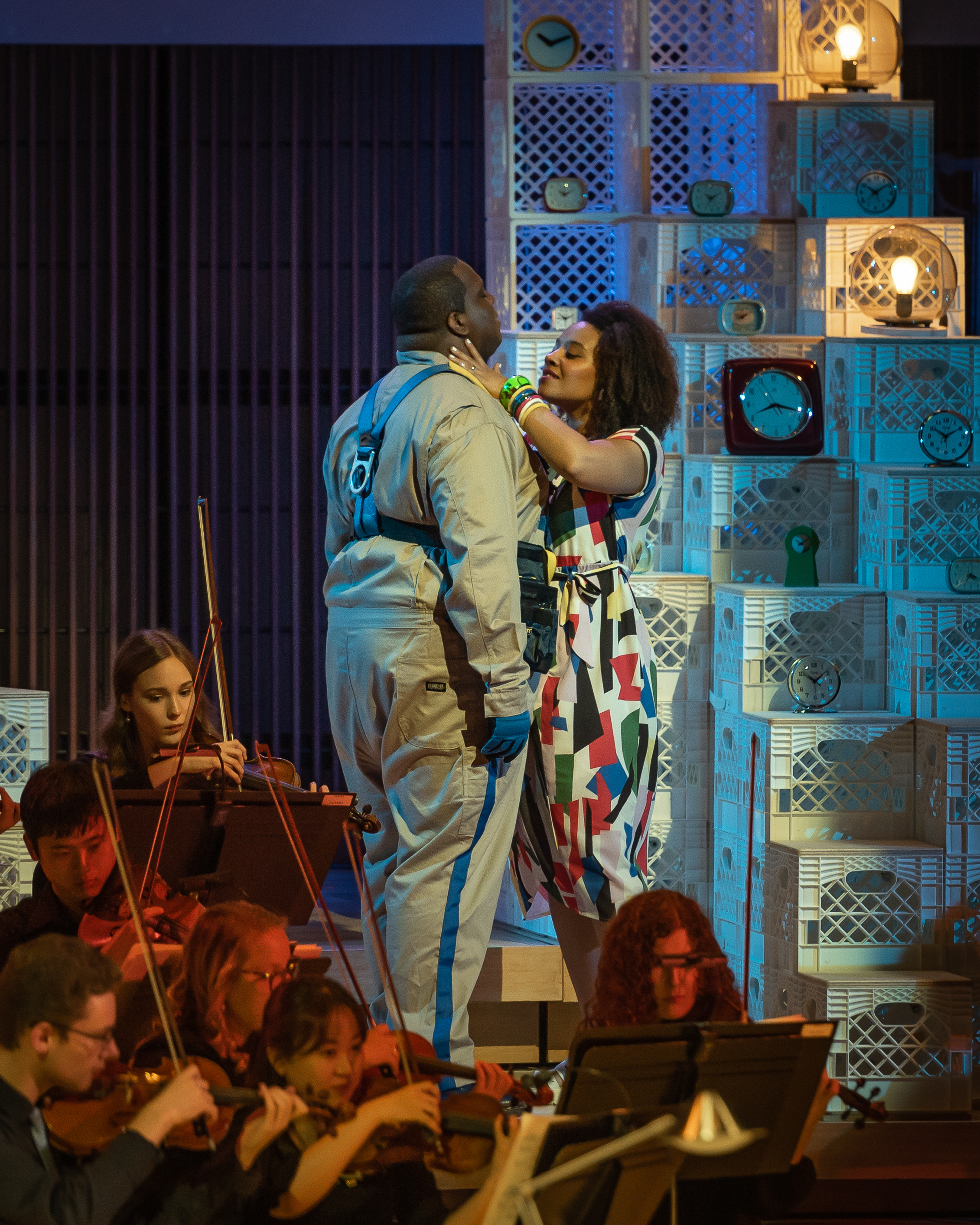 Concepcion (Taylor Raven) decides that in love, it is the muleteer's turn (Joshua Conyers) - regards to Boccacio. Photo by Rob Wallace/MIndful Photo; courtesy of Wolf Trap Opera.
