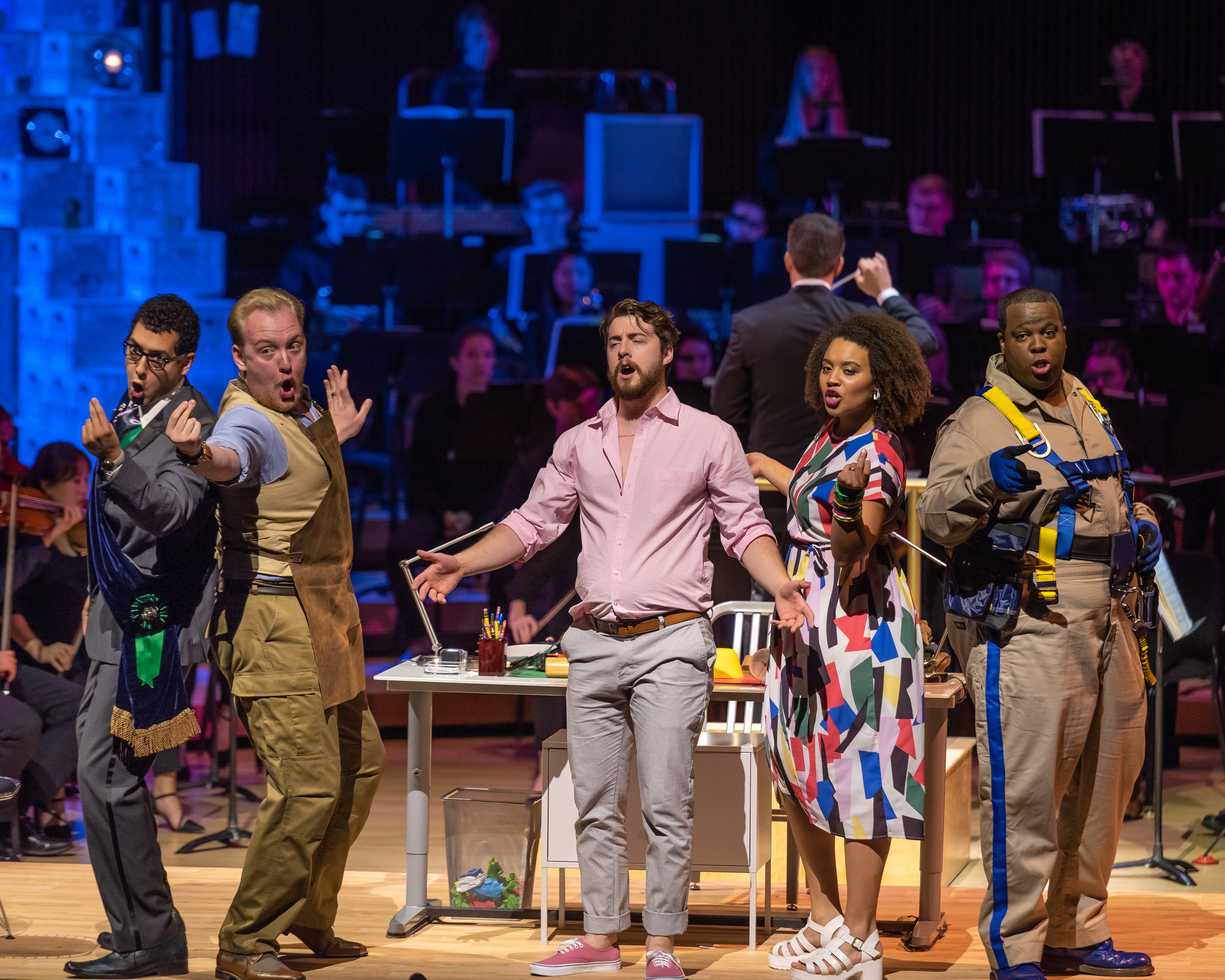 The finale quintet shows each player content, especially Concepcion (Taylor Raven), in line with Don Iñigo (Calvin Griffith), Torquemada (Ian Koziara), Gonsalve (Joshua Lovell), and Ramiro (Joahua Conyers. Photo by Rob Wallace/MIndful Photo; courtesy of Wolf Trap Opera.