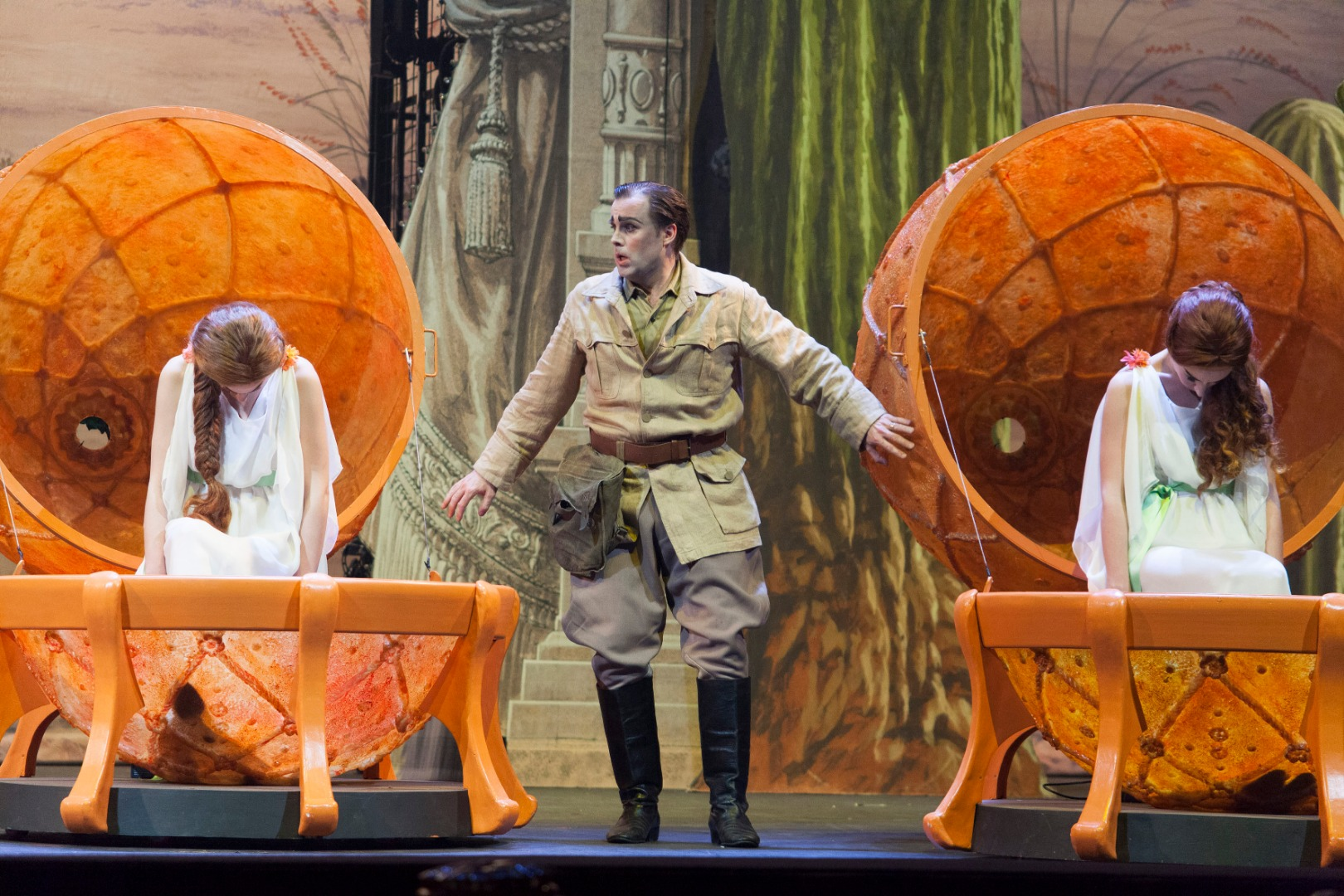 Scene from  The Love of Three Oranges . Photo by Michele Borzoni; courtesy of Opera Philadelphia.
