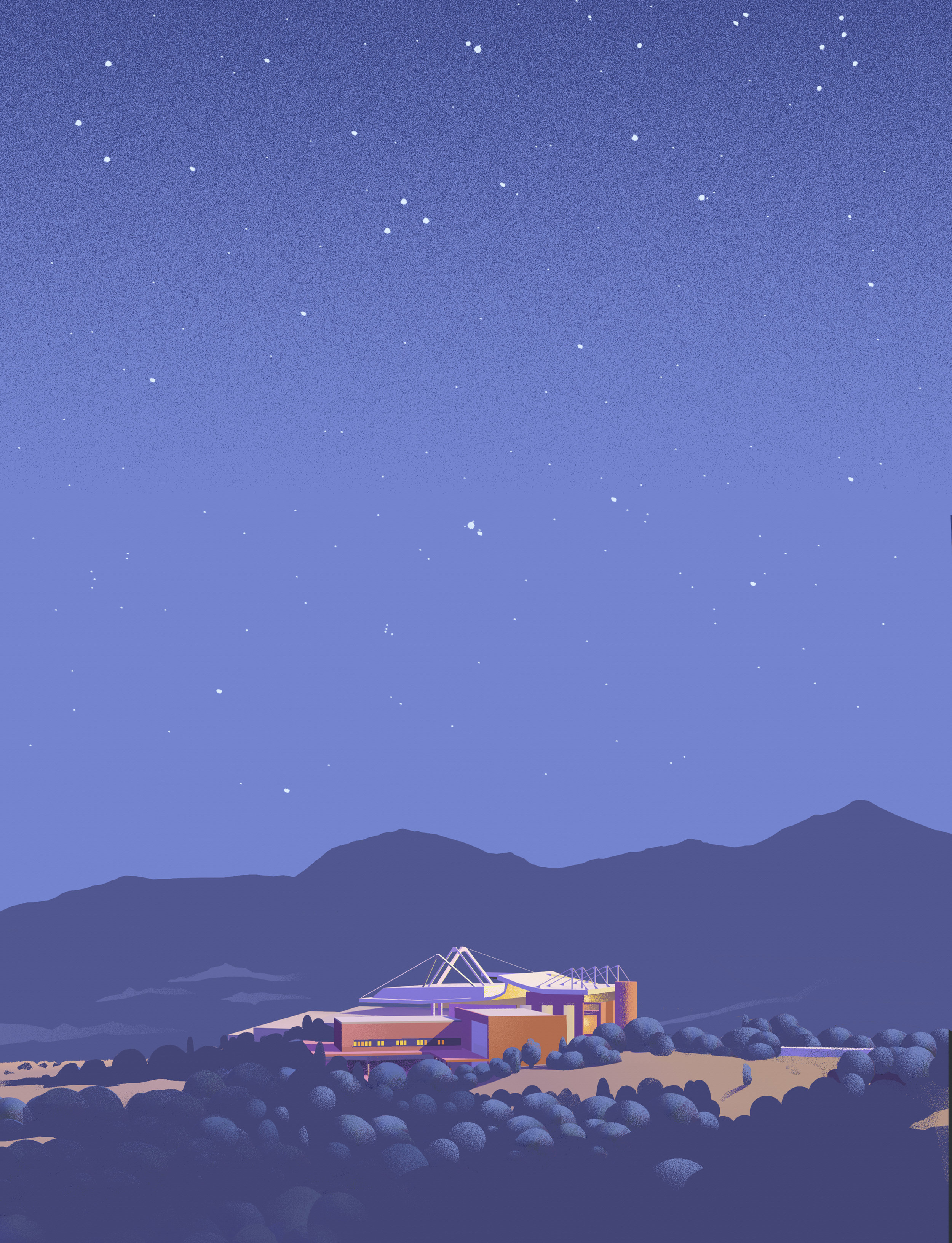 Farewell to Santa Fe Opera this season. Thanks for a great experience. (Santa Fe Opera illustration. Image by Stuart Mcreath; courtesy of Santa Fe Opera.)