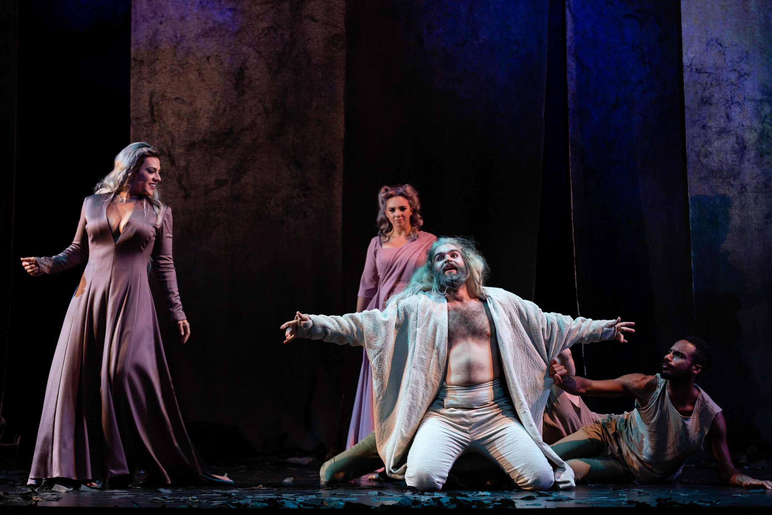 Daniela Mack as Juno, Sarah Shafer as Iris, and Alex Rosen as Somnus. Photo by Dominic M. Mercier; courtesy of Opera Philadelphia.