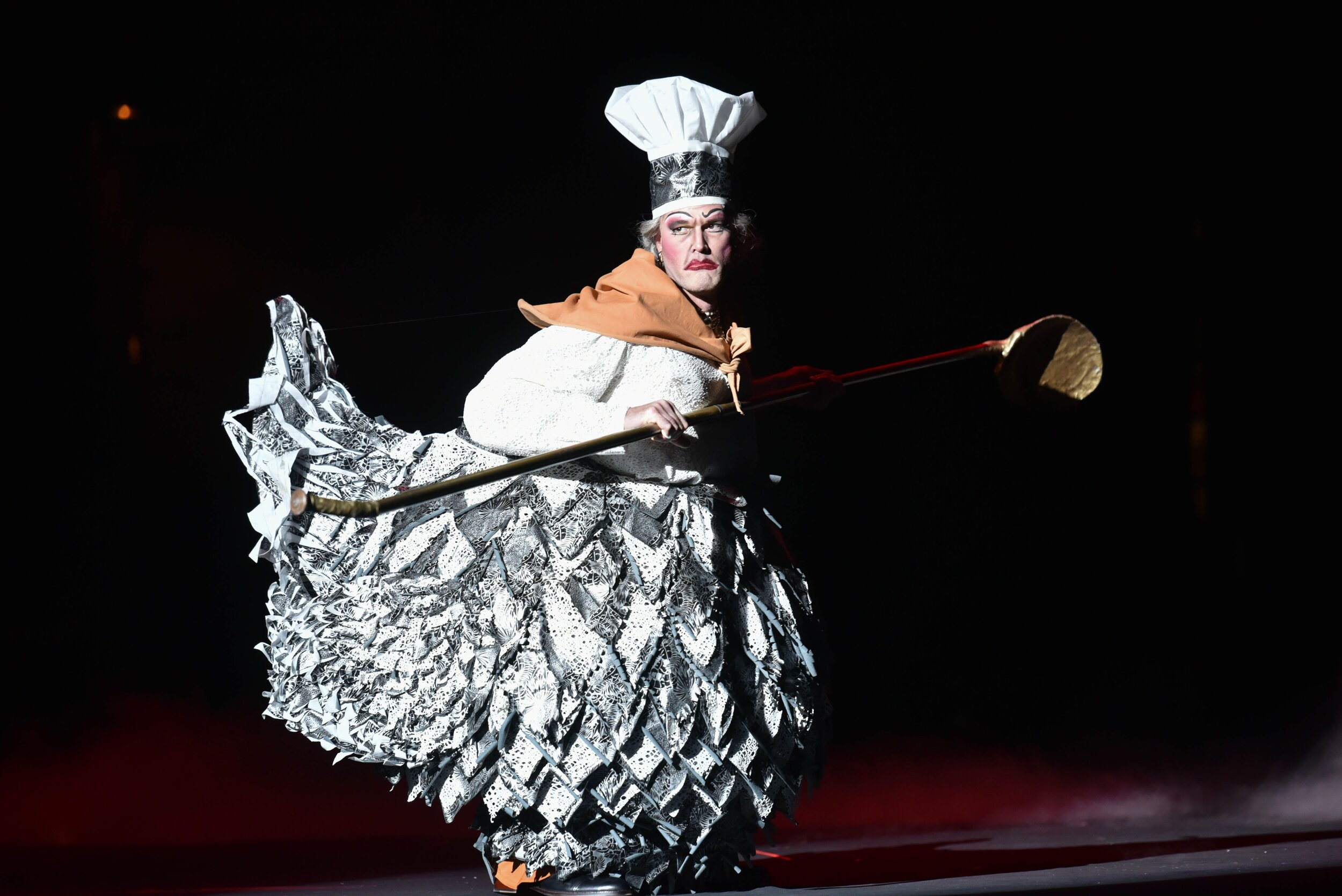 The Cook played by Zachary James sings softly but carries a big ladle. Photos by Kelly & Massa; courtesy of Opera Philadelphia.
