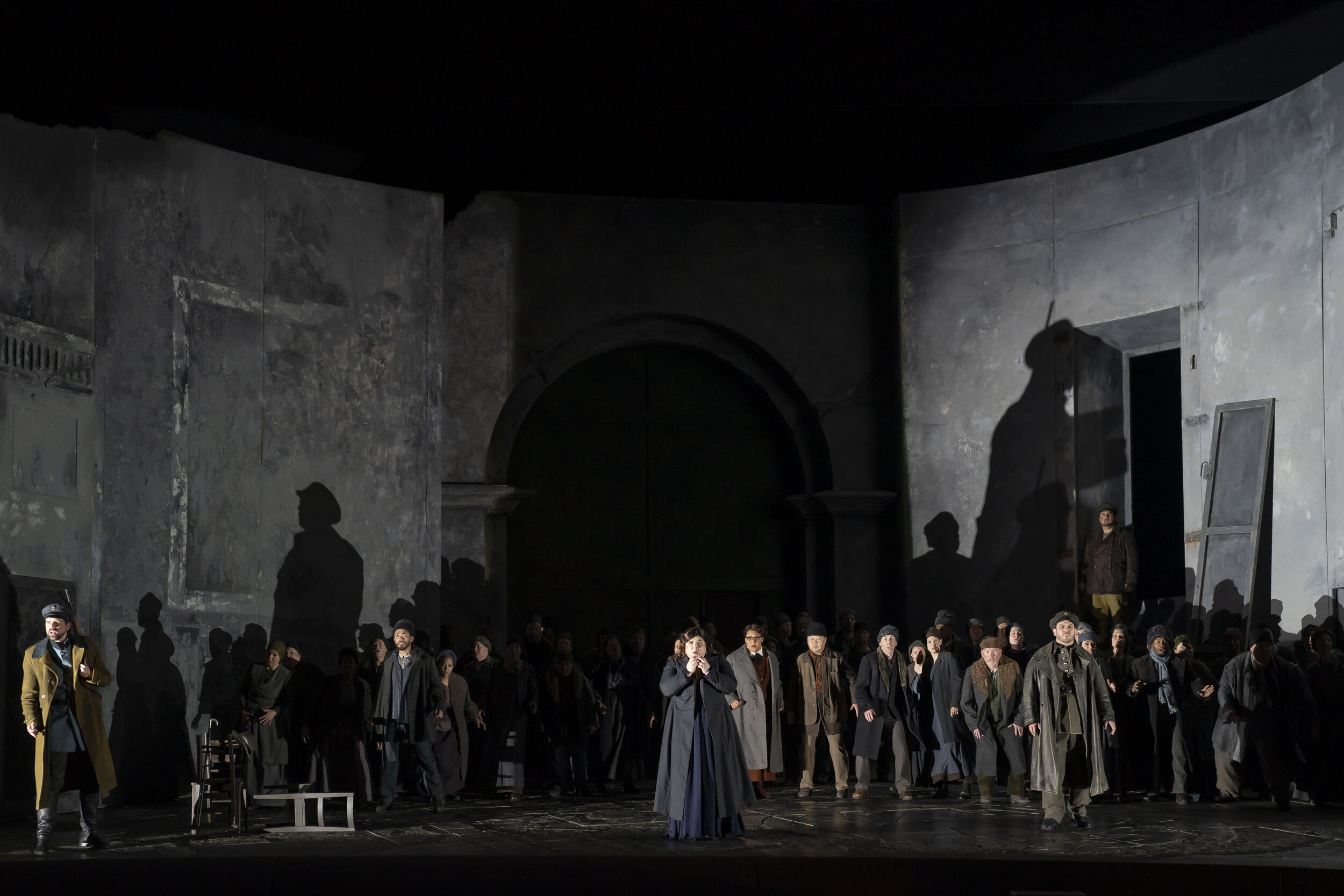 Desdemona (Leah Crocetto), center, and a fearful Cyprian crowd peer through the storm for Otello's ship. Photo by Scott Suchman; courtesy of Washington National Opera.
