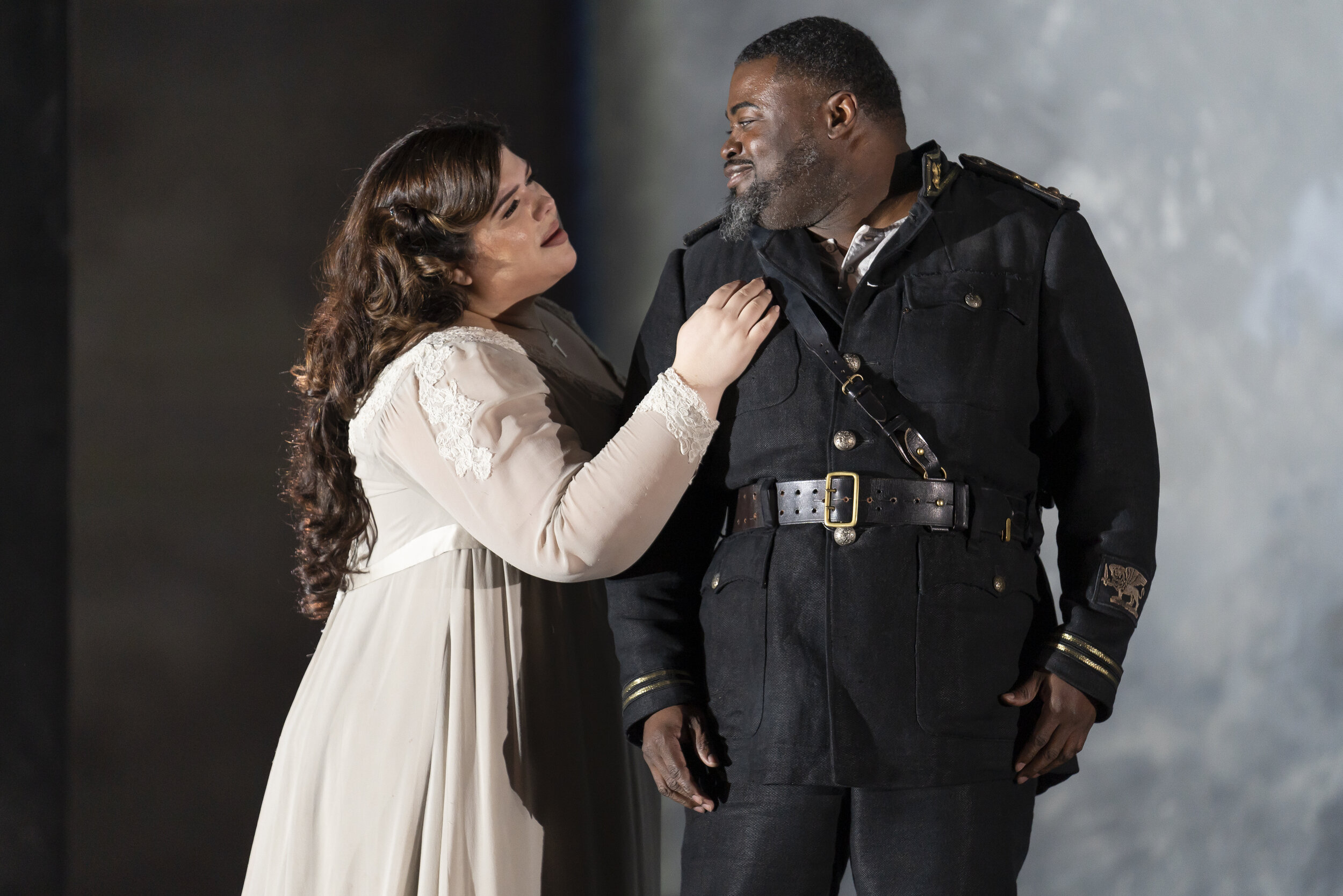 Desdemona (Leah Crocetto) and Otello (Russell Thomas) are rapturously reunited. Photo by Scott Suchman; courtesy of Washington National Opera.