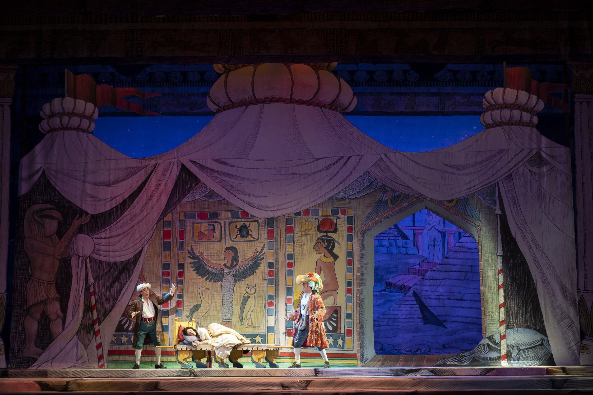 l to r : David Cangelosi as Monostatos, Sidney Mancasola as Pamina, and Michael Adams as Papageno. Photo by Scott Suchman; courtesy of Washington National Opera.