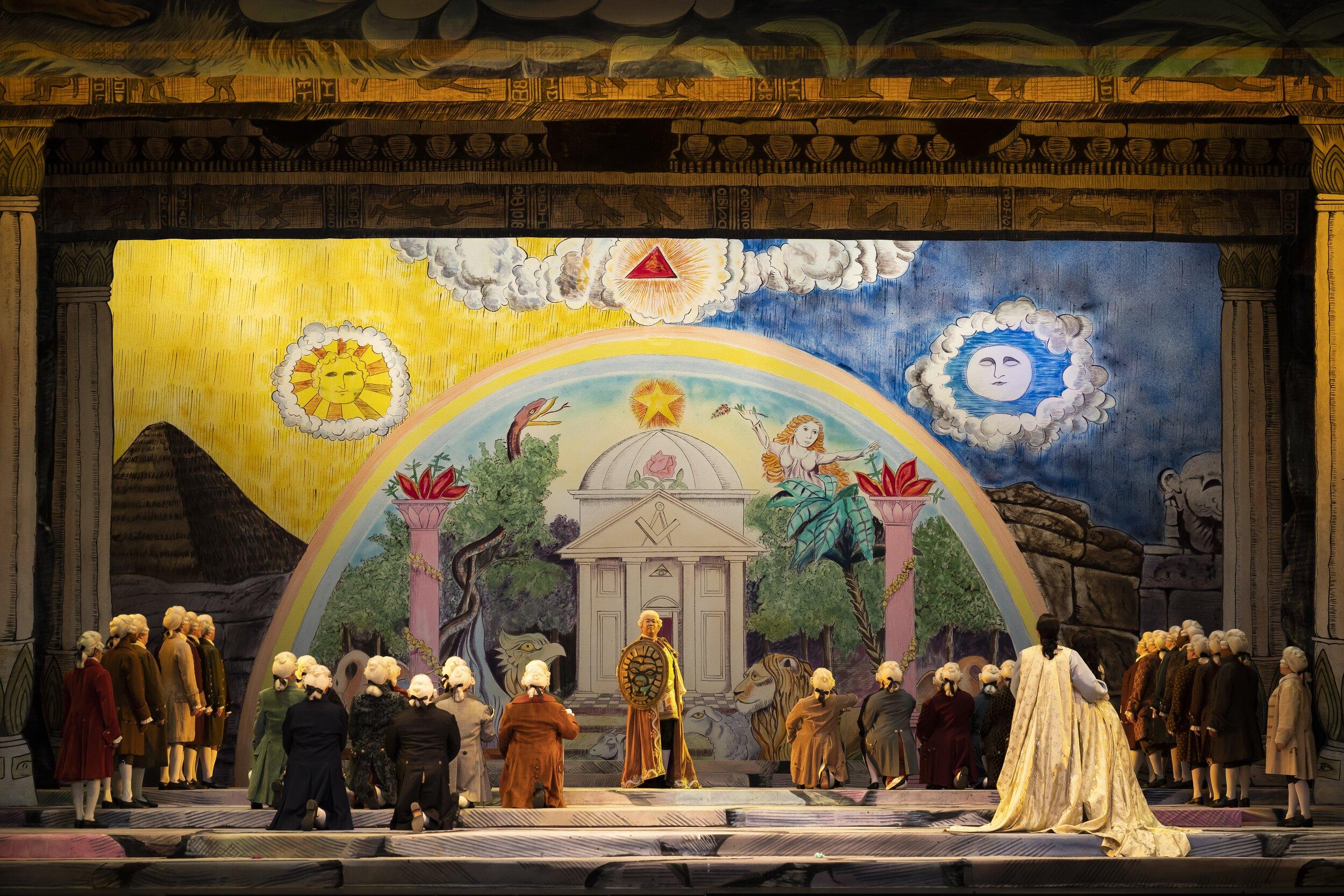 A closing scene in the brotherhood lodge. Photo by Scott Suchman; courtesy of Washington National Opera.