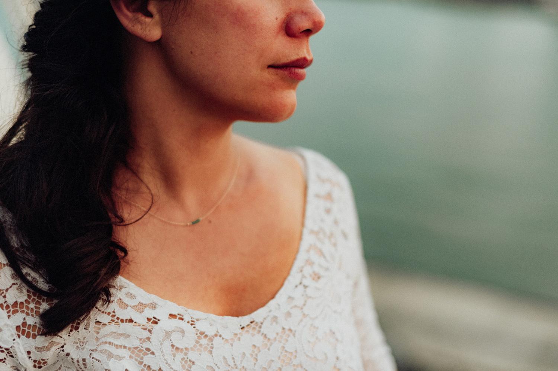 Close up of bride dress