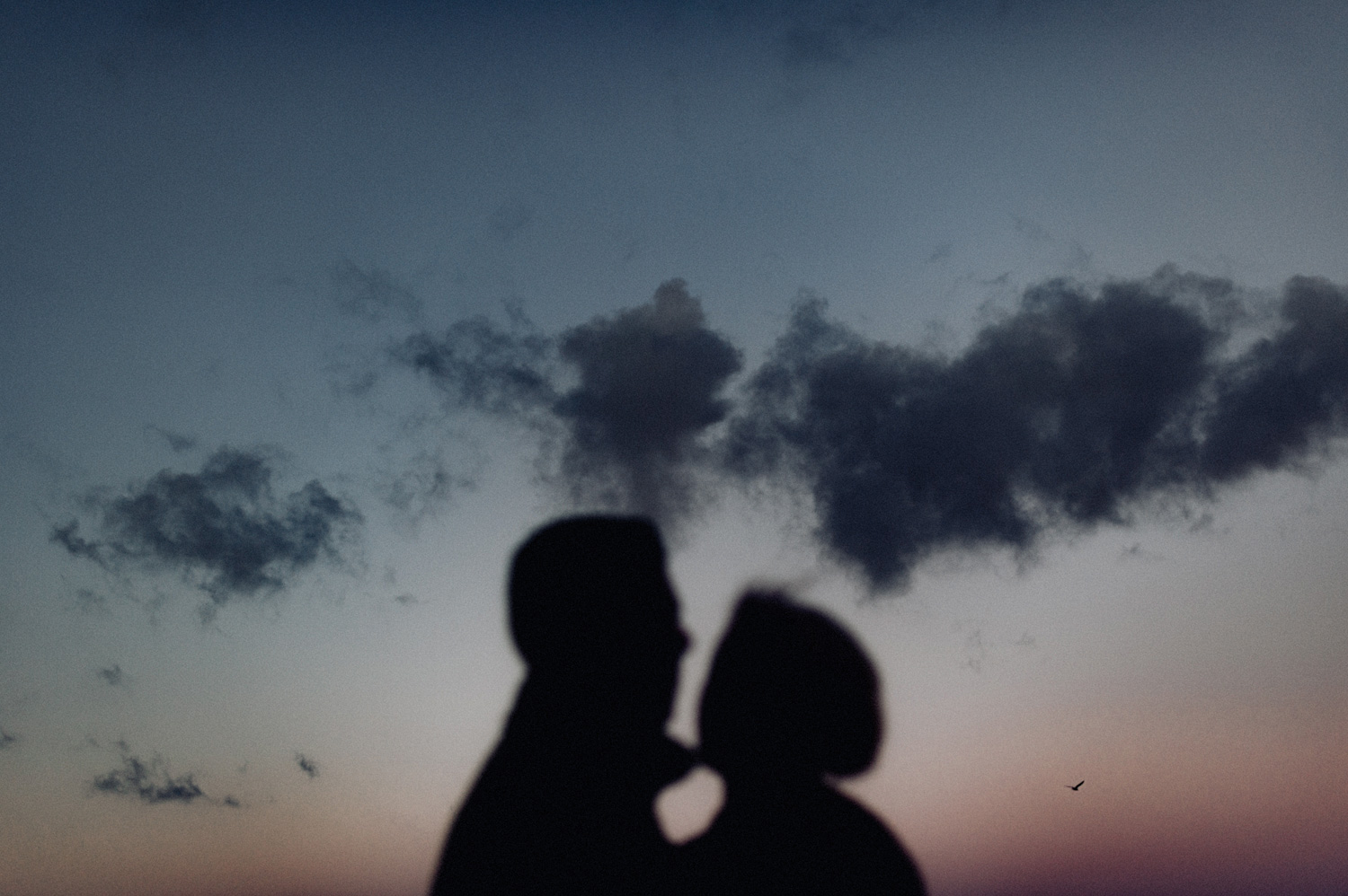 Silhouette shot of couple in front of dusk sky
