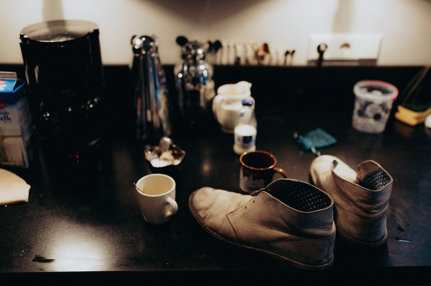 Shoes in kitchen