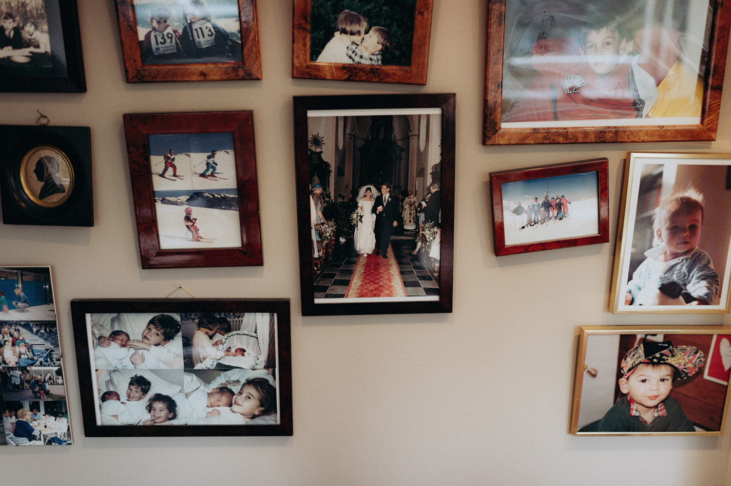Family photos hanging on wall