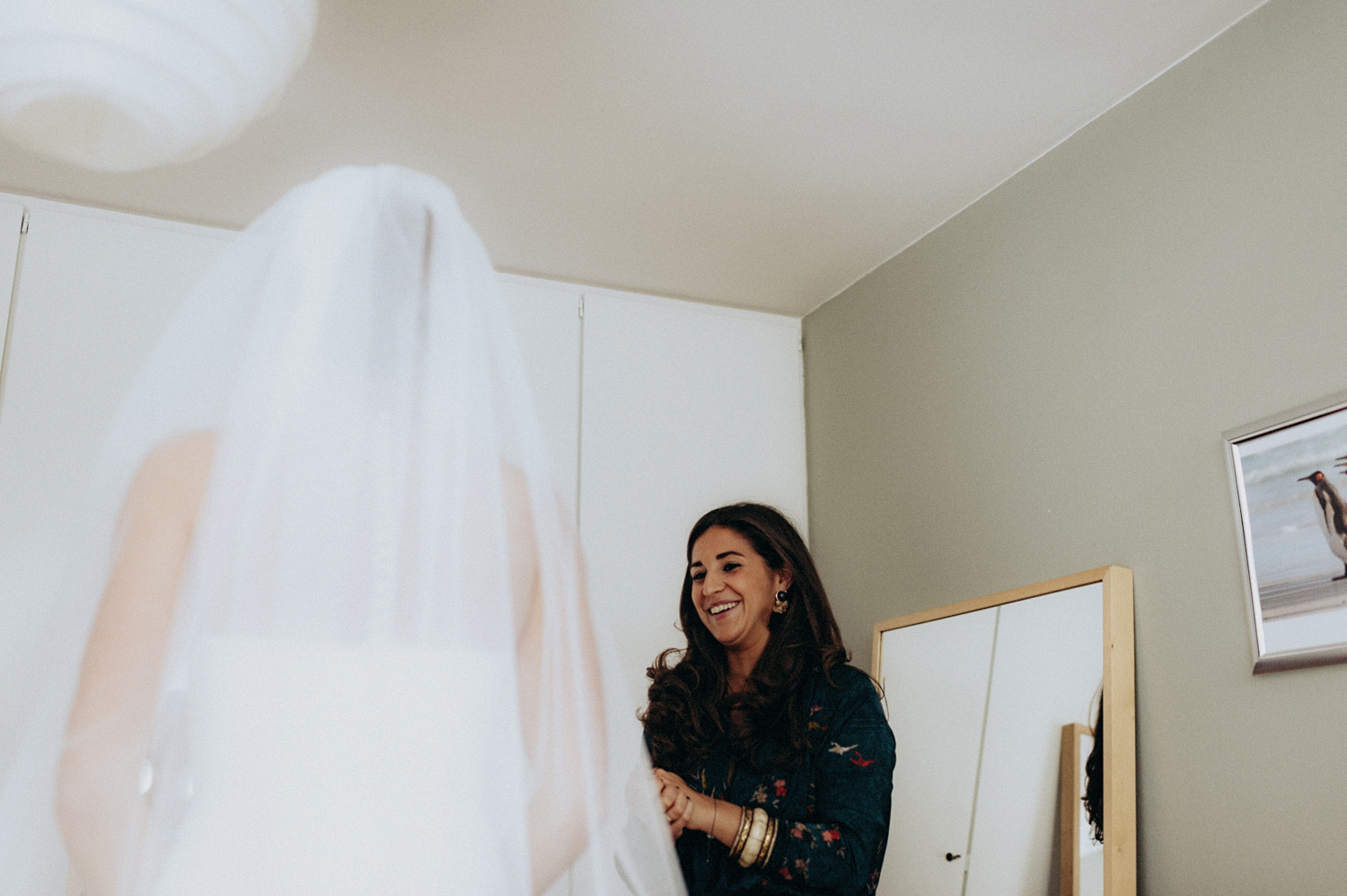 Bride with veil in house of her parents