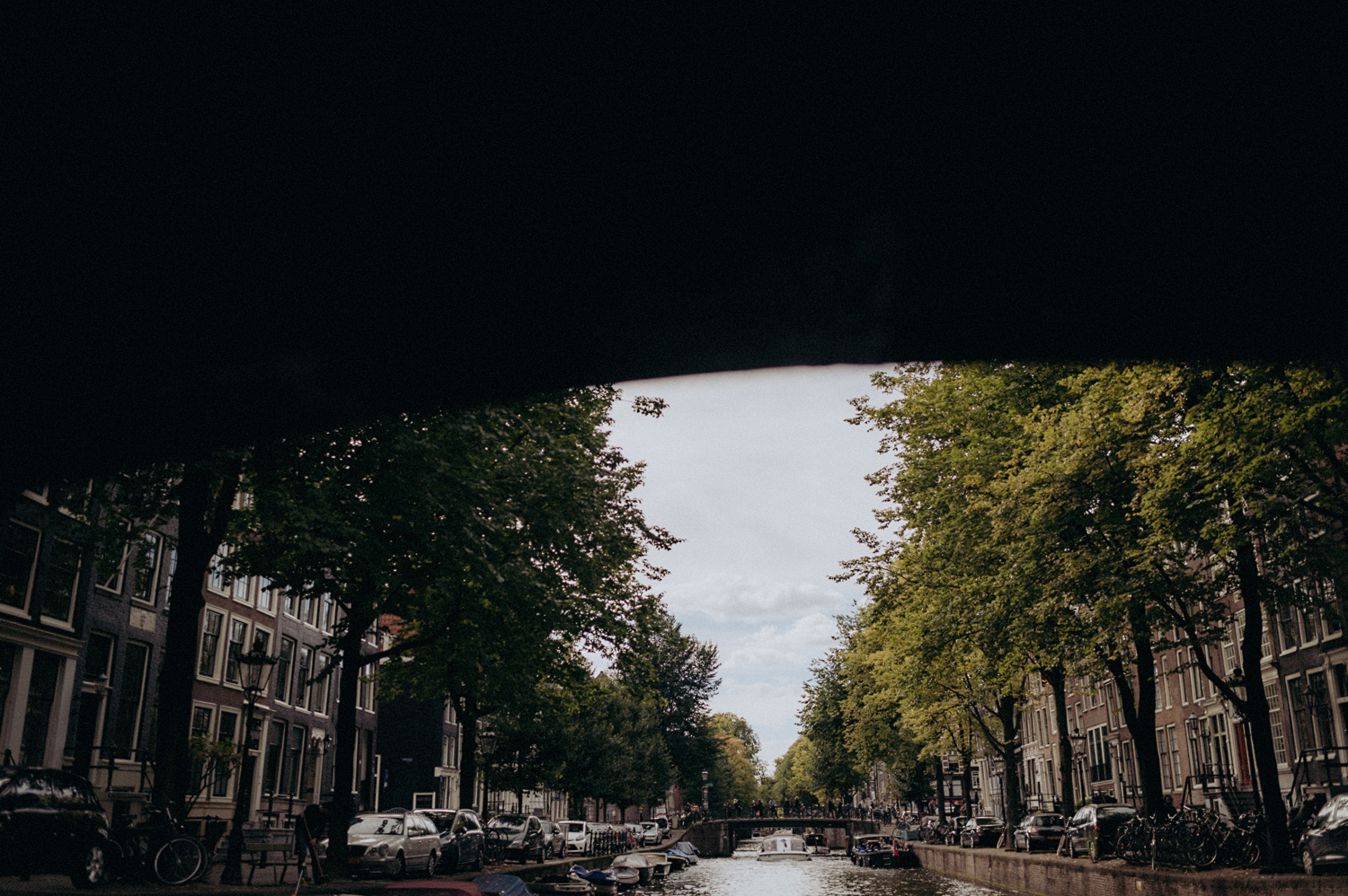 Under bride at canals of Amsterdam