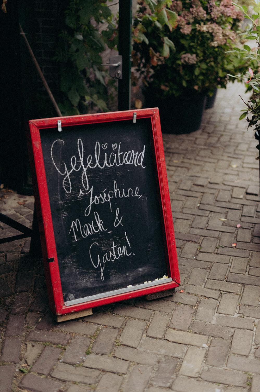 Wedding sign at Rijk van de Keizer in Amsterdam