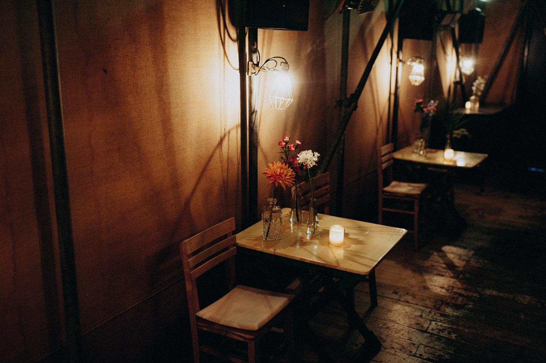 Dimmed lights at tables in Rijk van de Keizer