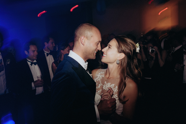 Bride and groom love during party at Rijk van de Keizer Amsterdam