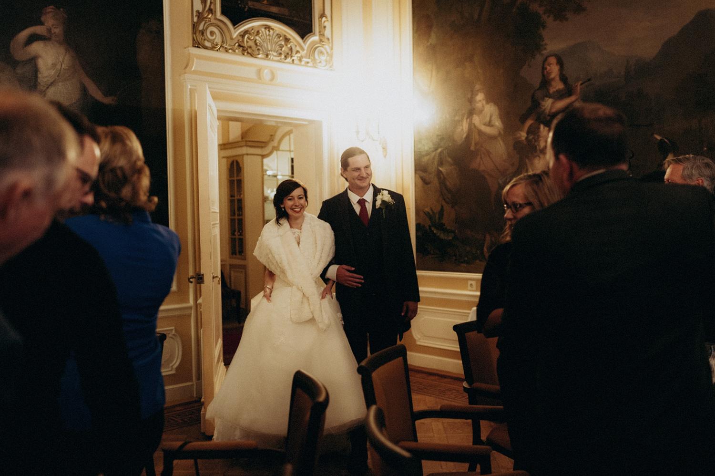 Bride and groom entering dinner room at Duin and Kruidberg Santpoort